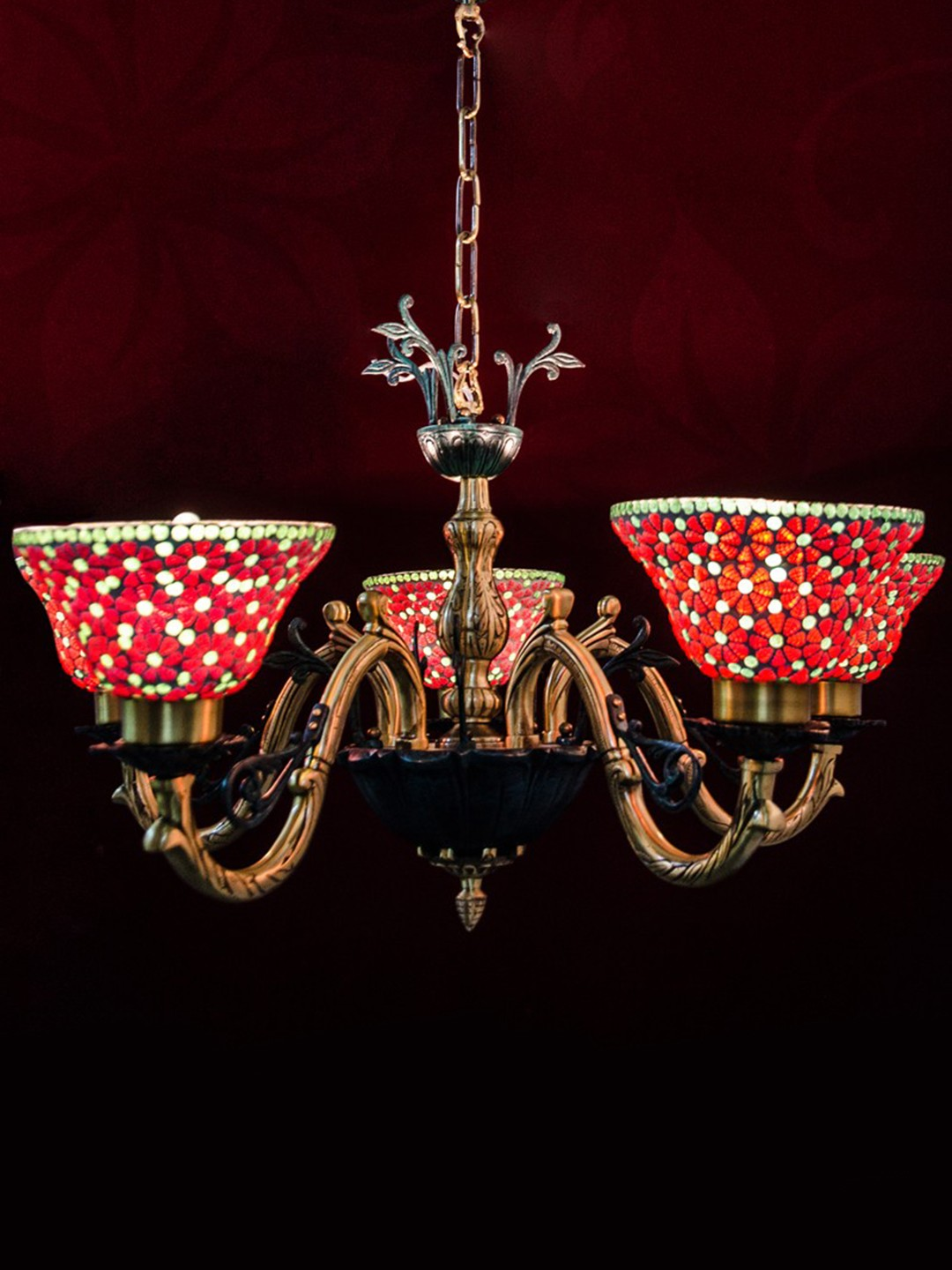 Vase red mosaic 5 light chandelier