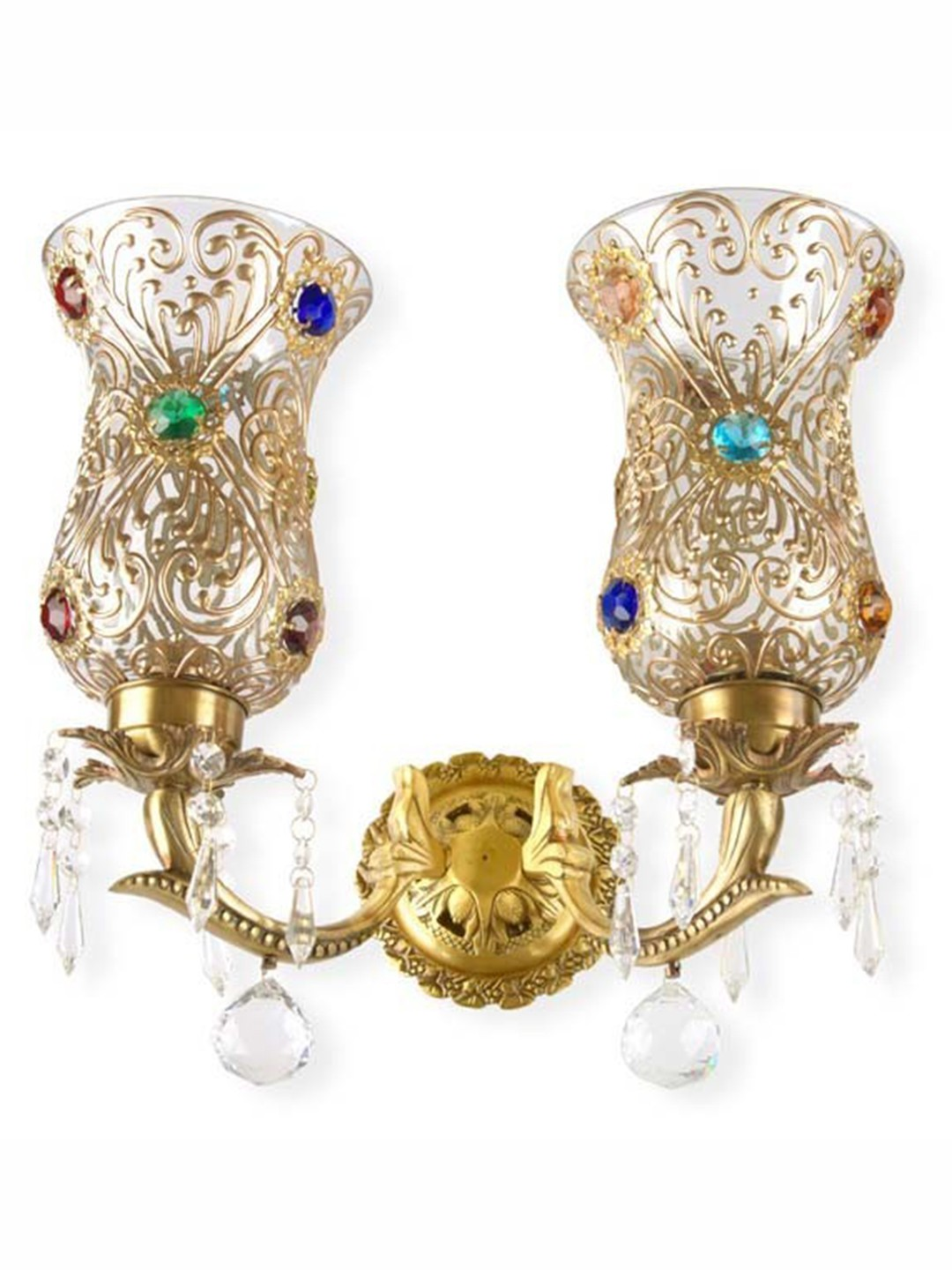 Bindi Double Brass & Crystal Sconce