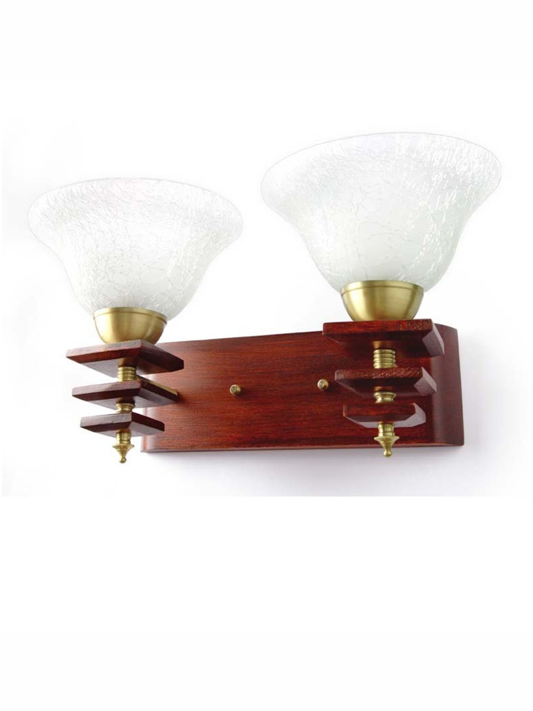 Dolphin Rose Wood Finished Double Wall Light