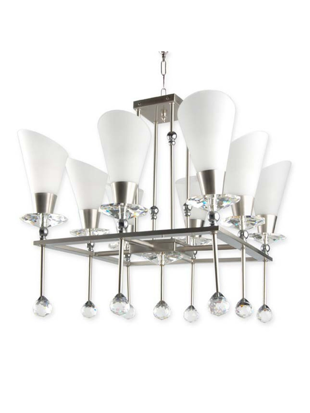 Glamorous Crystal Accented Square 8 Light Chandelier