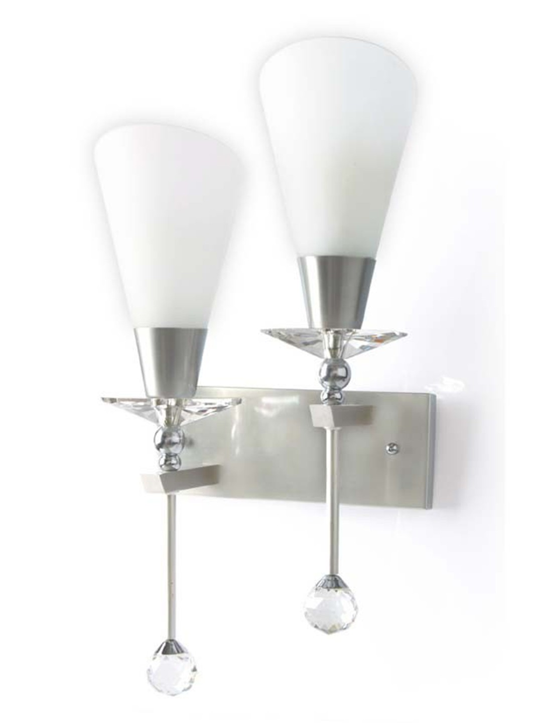 Glamorous Crystal Accented Asymmetric Double Wall Sconce