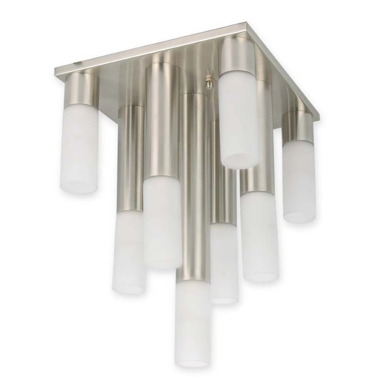 Modern Satin Steel Victory Flush Chandelier
