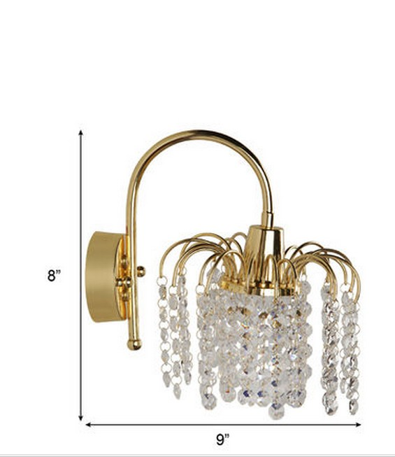 Golden Fountain Crystal Wall Light