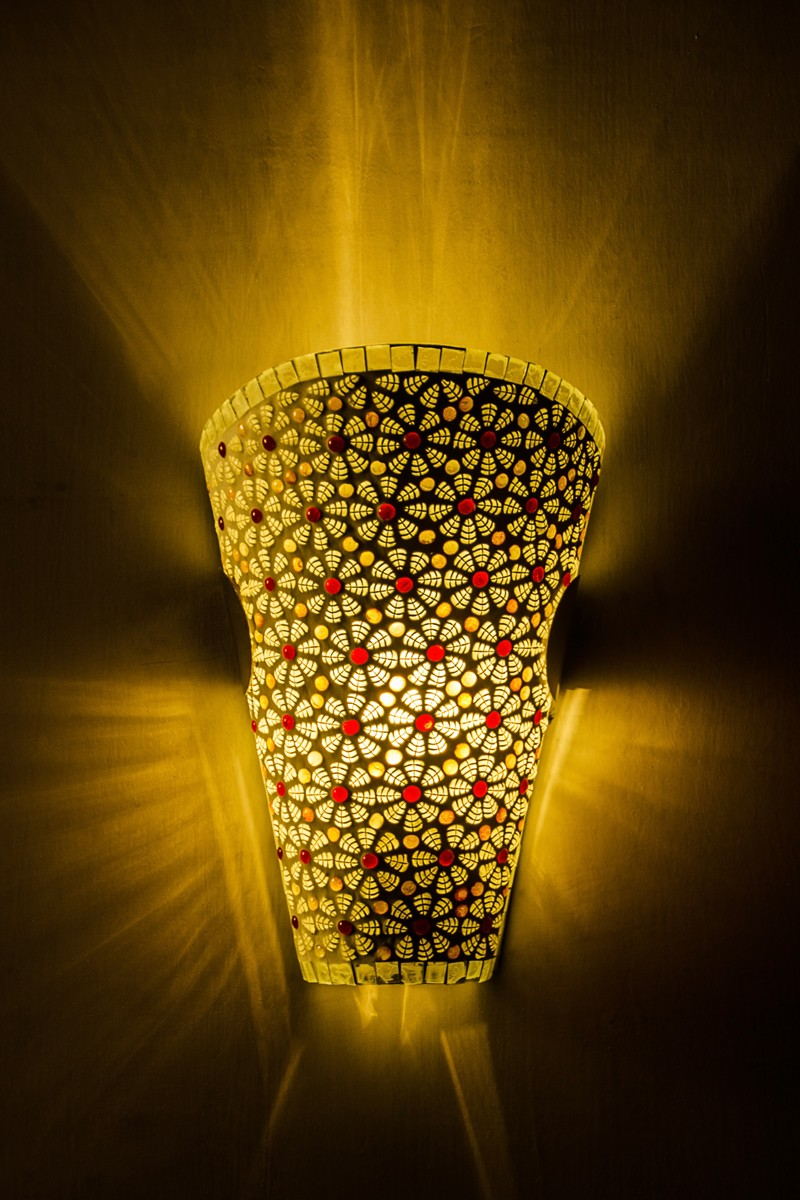 Red Leaf Mosaic Conical Wall Sconce