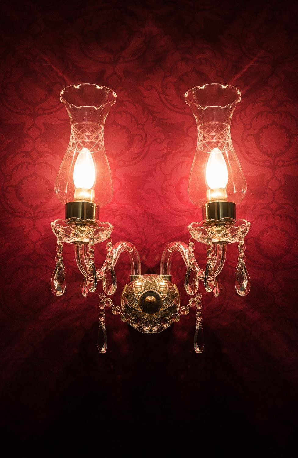 Crystal Arm & Chimney Double Wall Sconce