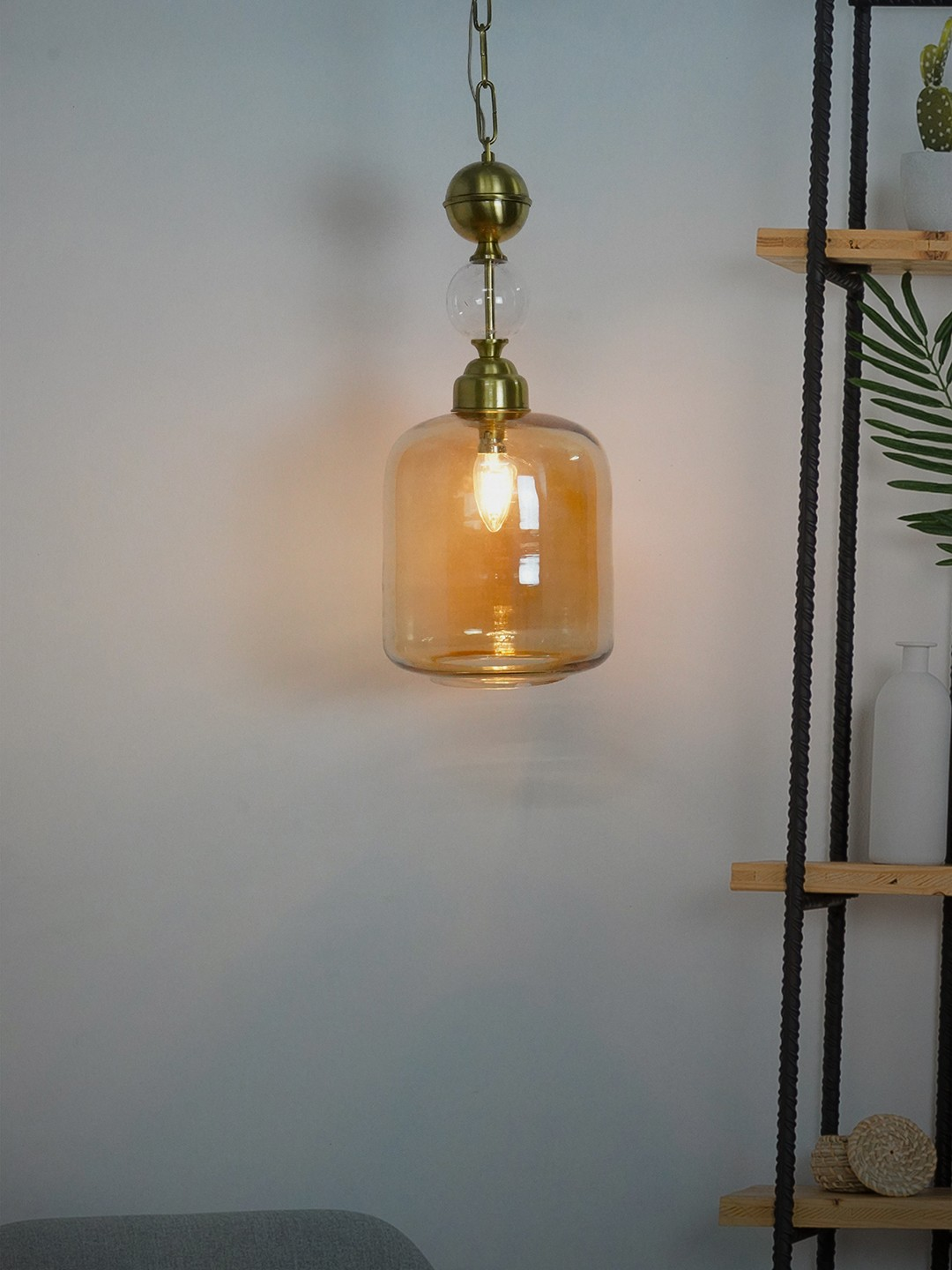 Translucent Golden Glass Jar Hanging Lantern