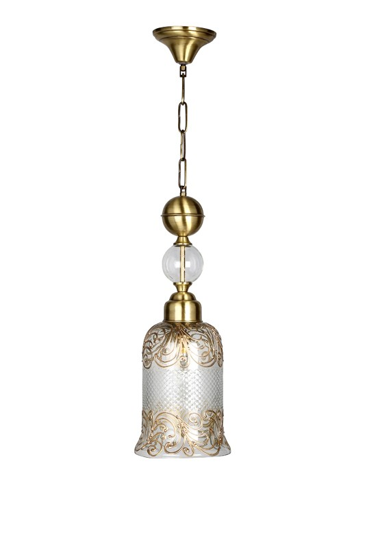 Cut Glass Handpainted Jar Pendant Light