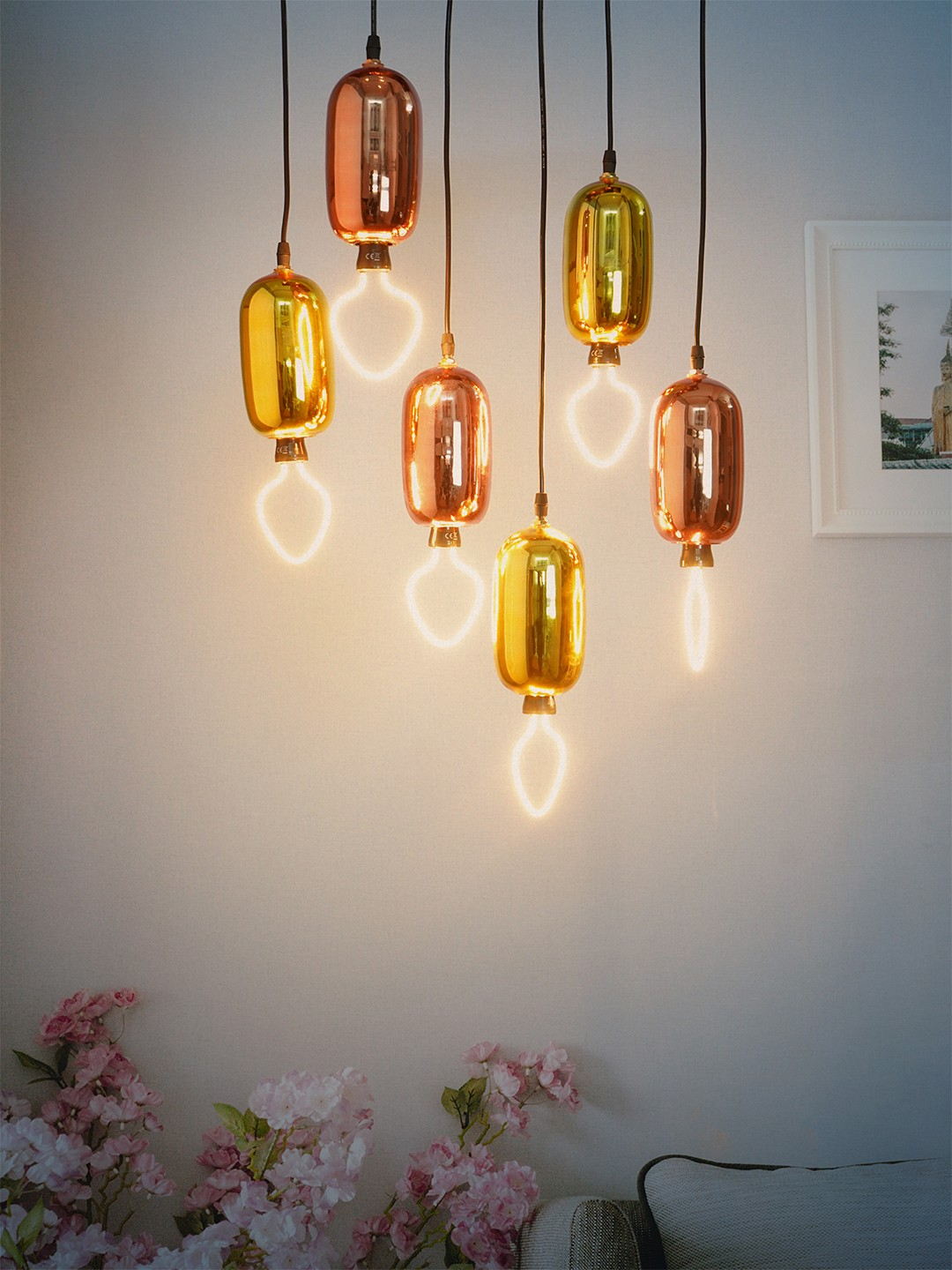 Cluster of 6 Golden and Rose Gold Capsule Pendant Light