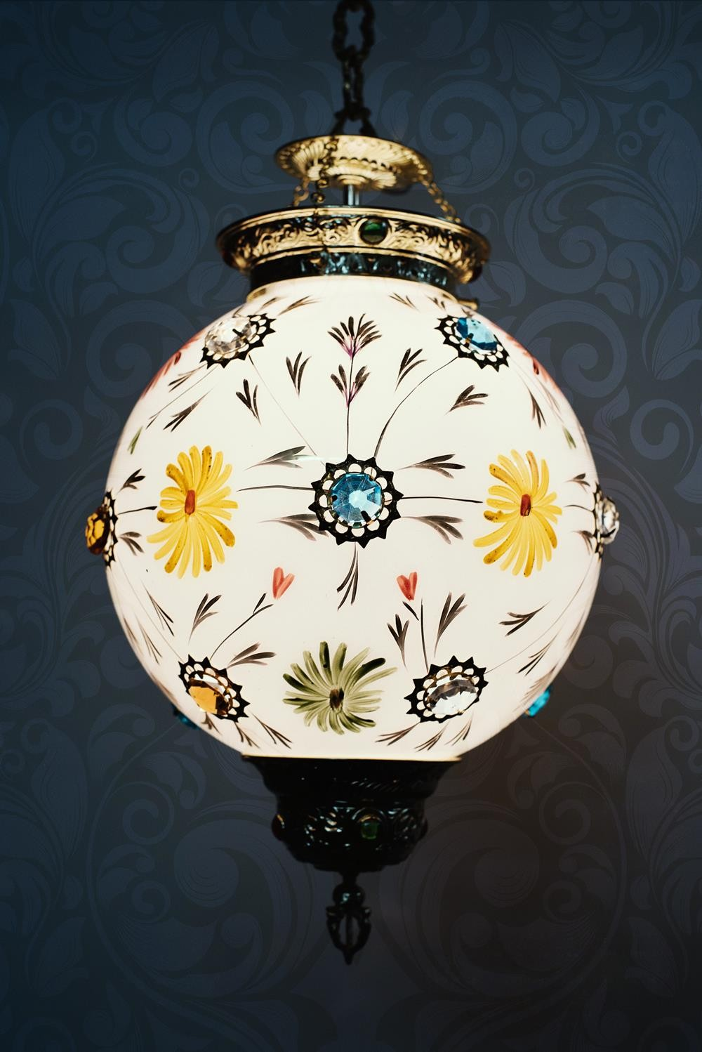 Gola Hand painted golden lantern light