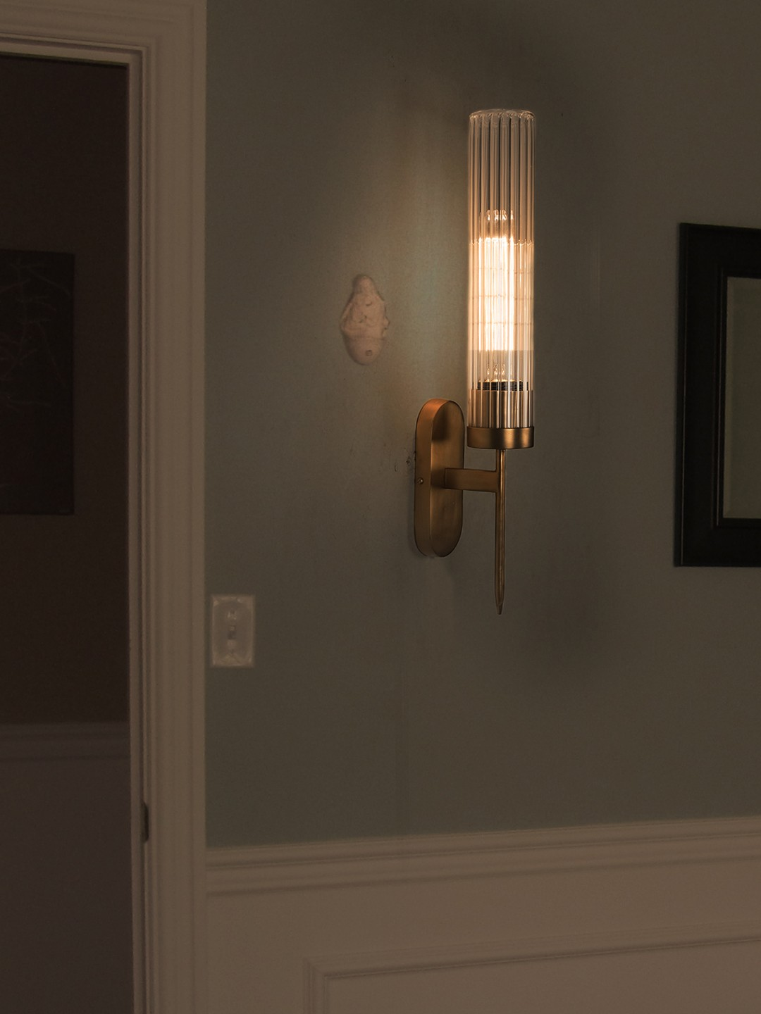 Golden Mini Torchiere Wall Sconce with Fluted Cylinderical Glass