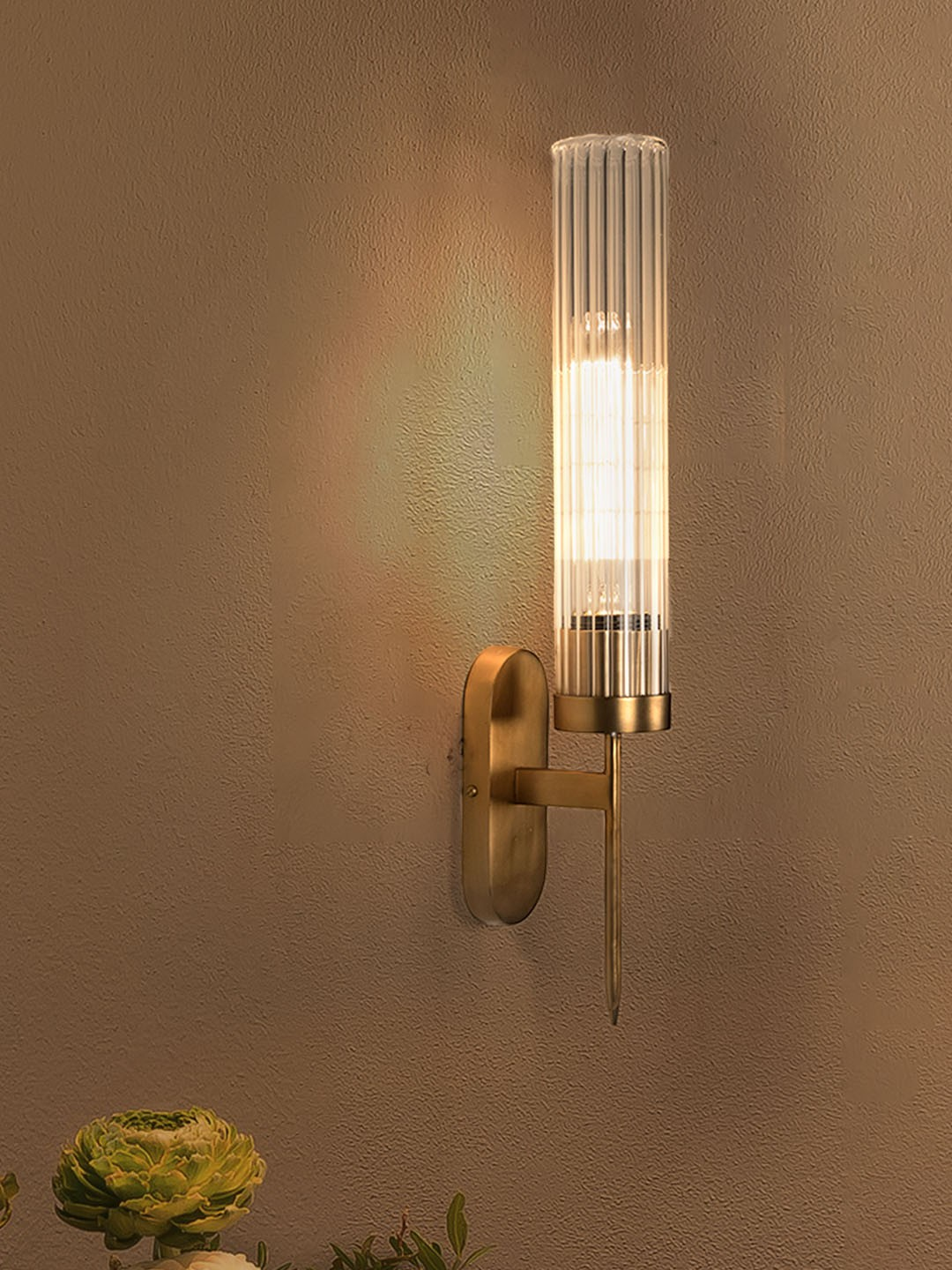 Golden Mini Torchiere Wall Sconce with Fluted Cylindrical Glass