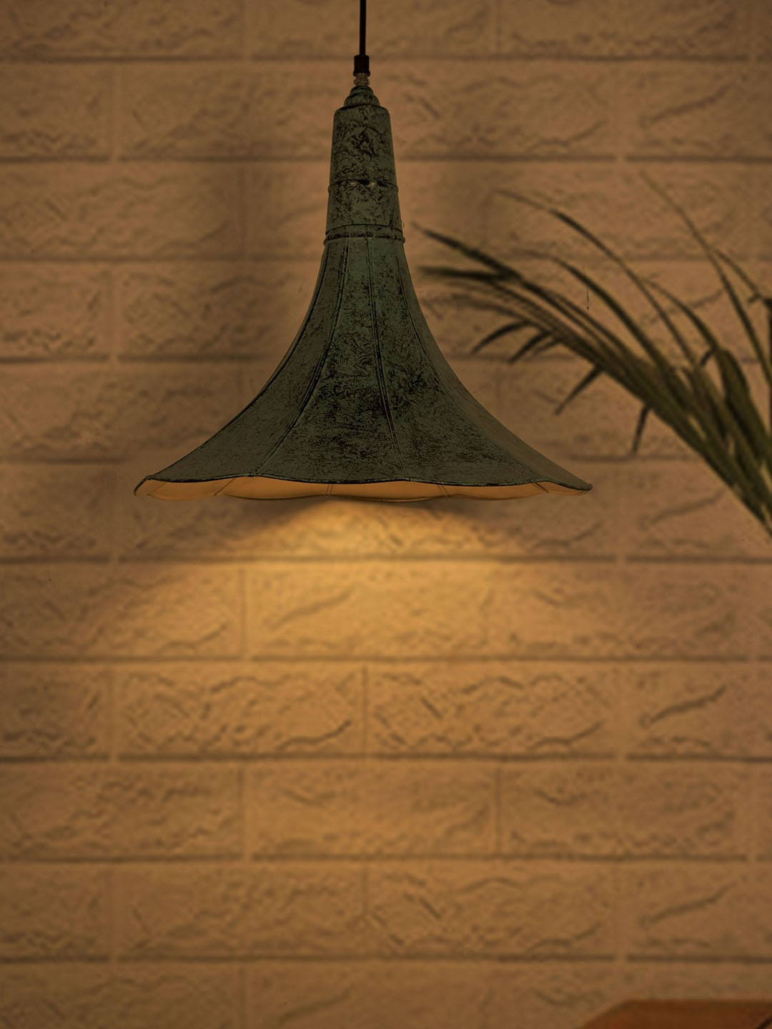 Vintage Gramophone Horn Pendant Light in Patina Finish