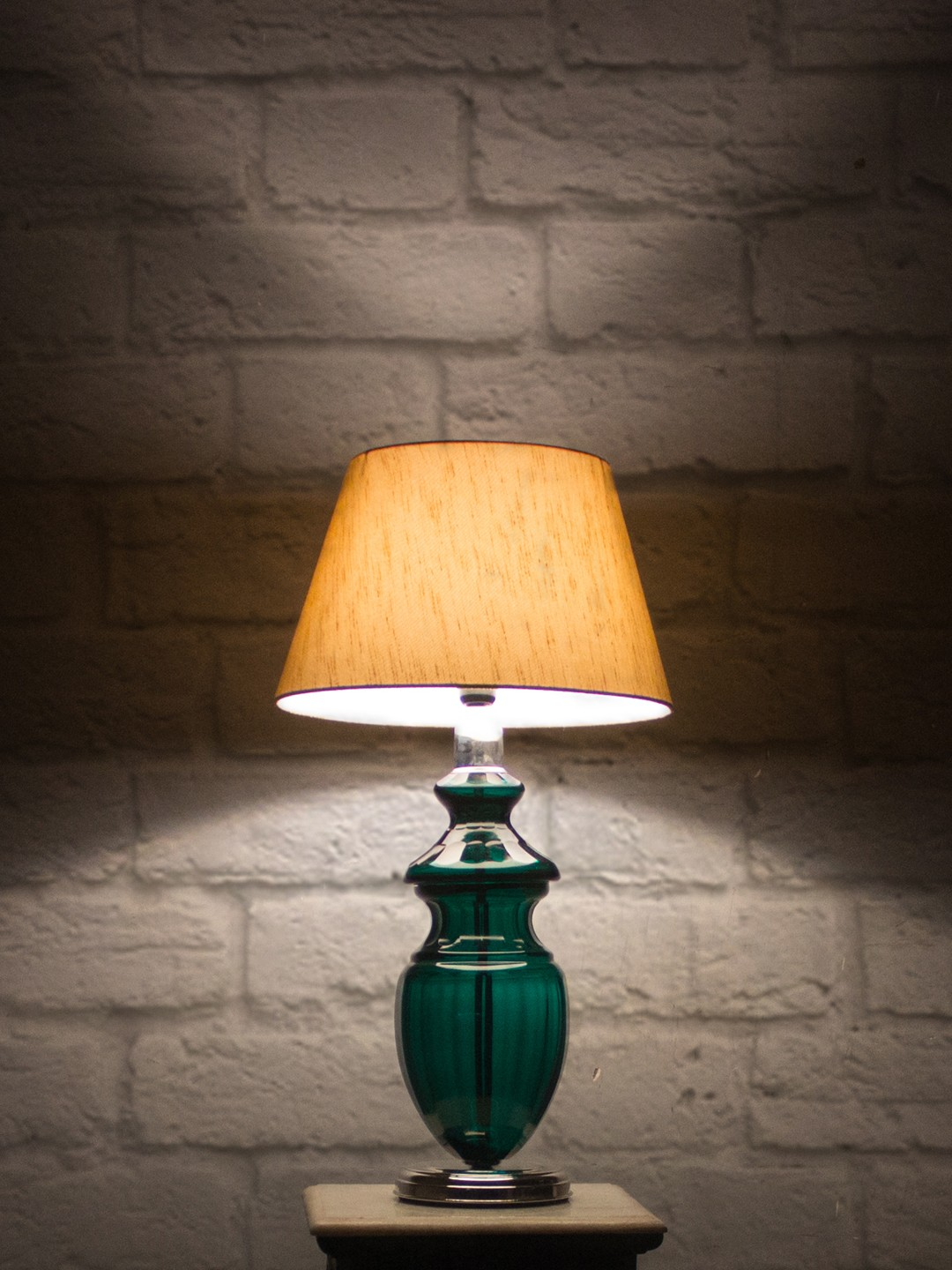 Emerald Cut Glass and Silk Shade Table Lamp