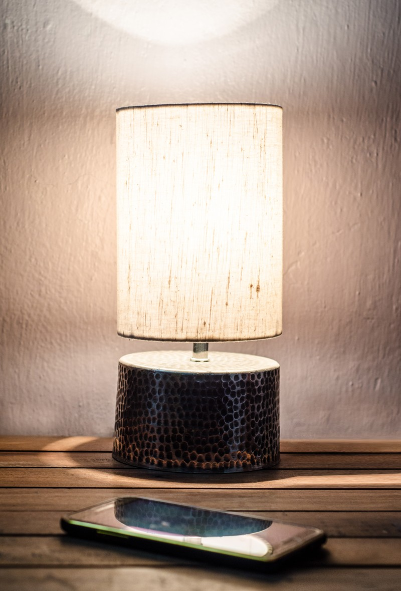 Small Silver Hammered Cylinder Table Lamp