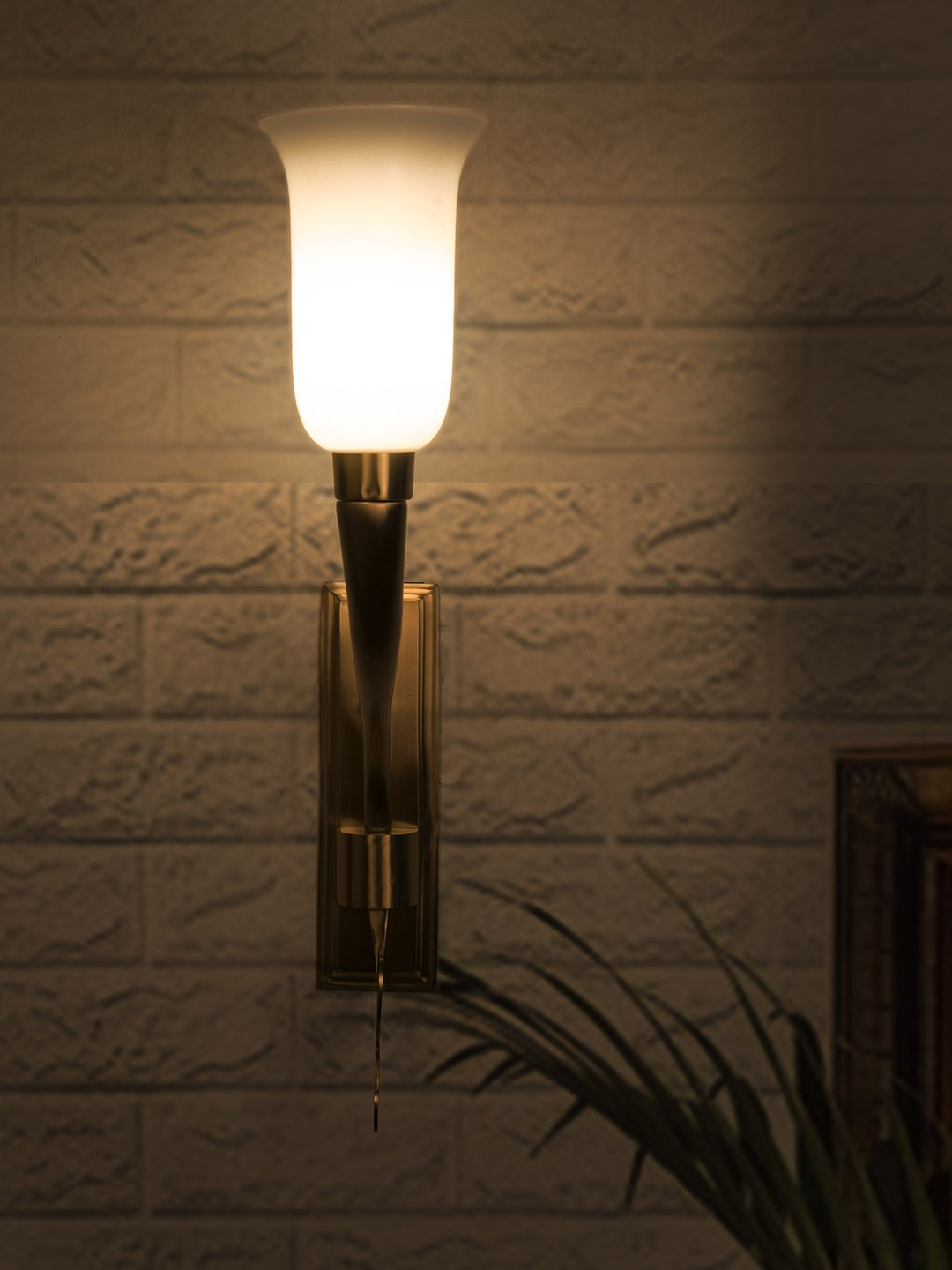 Fluted Horn Cast Brass with White Shade Wall Sconce