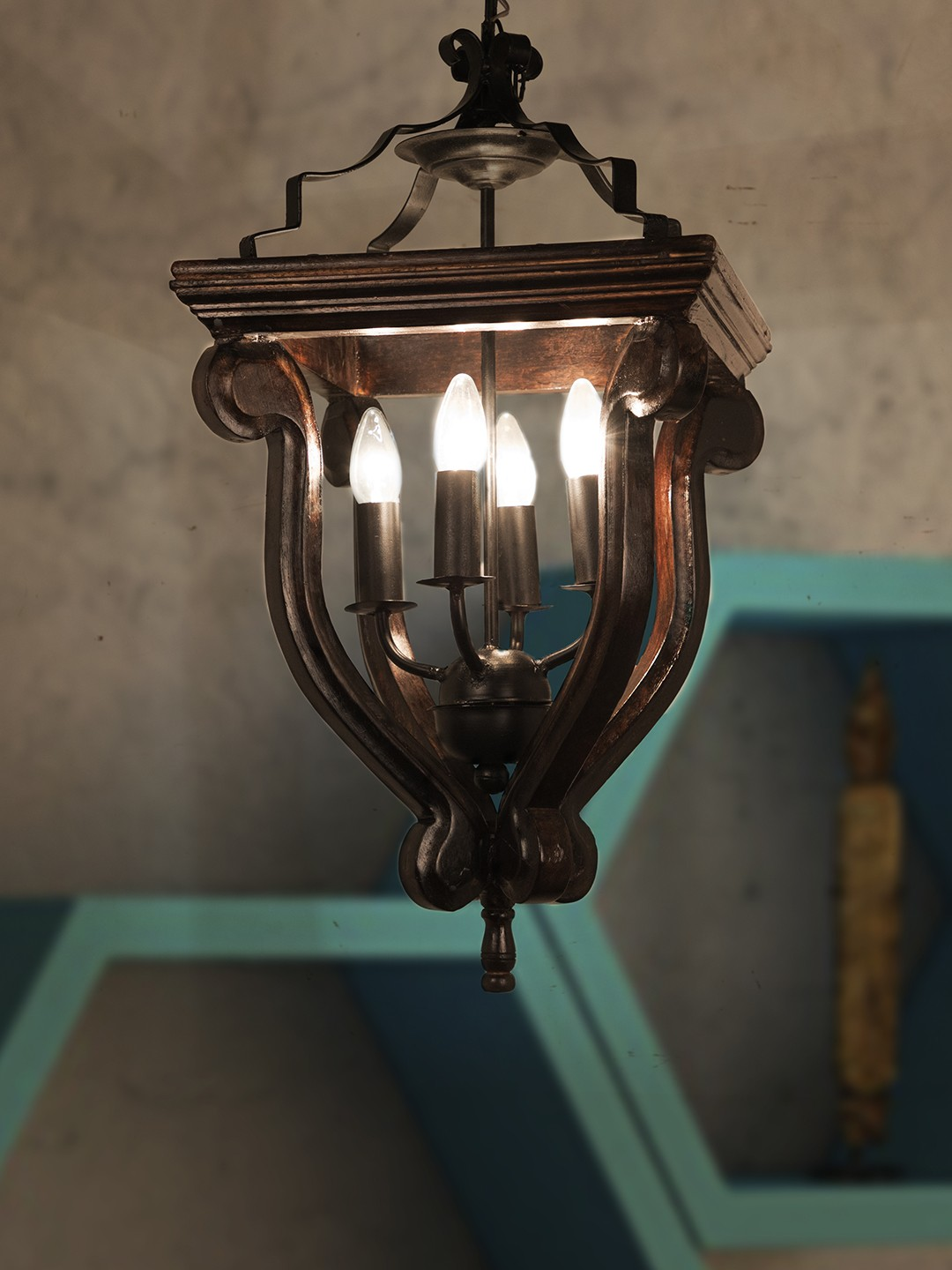 Coastal 4 Light Stained Wood and Wrought Iron Foyer Pendant Light