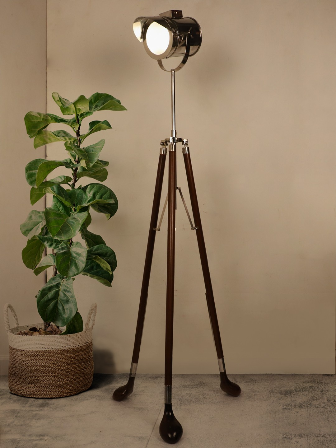 Golf Club Wood & Nickel Cap Tripod Floor Lamp