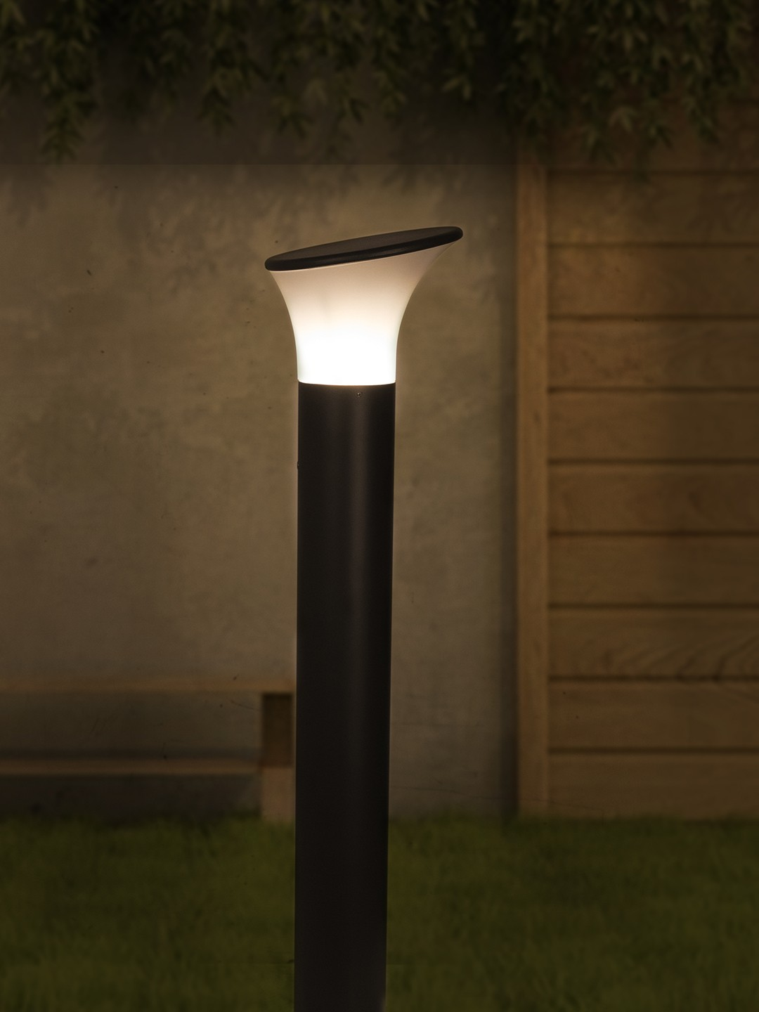 Contemporary Outdoor Bollard Light in Aluminium and Bent Acrylic Shade
