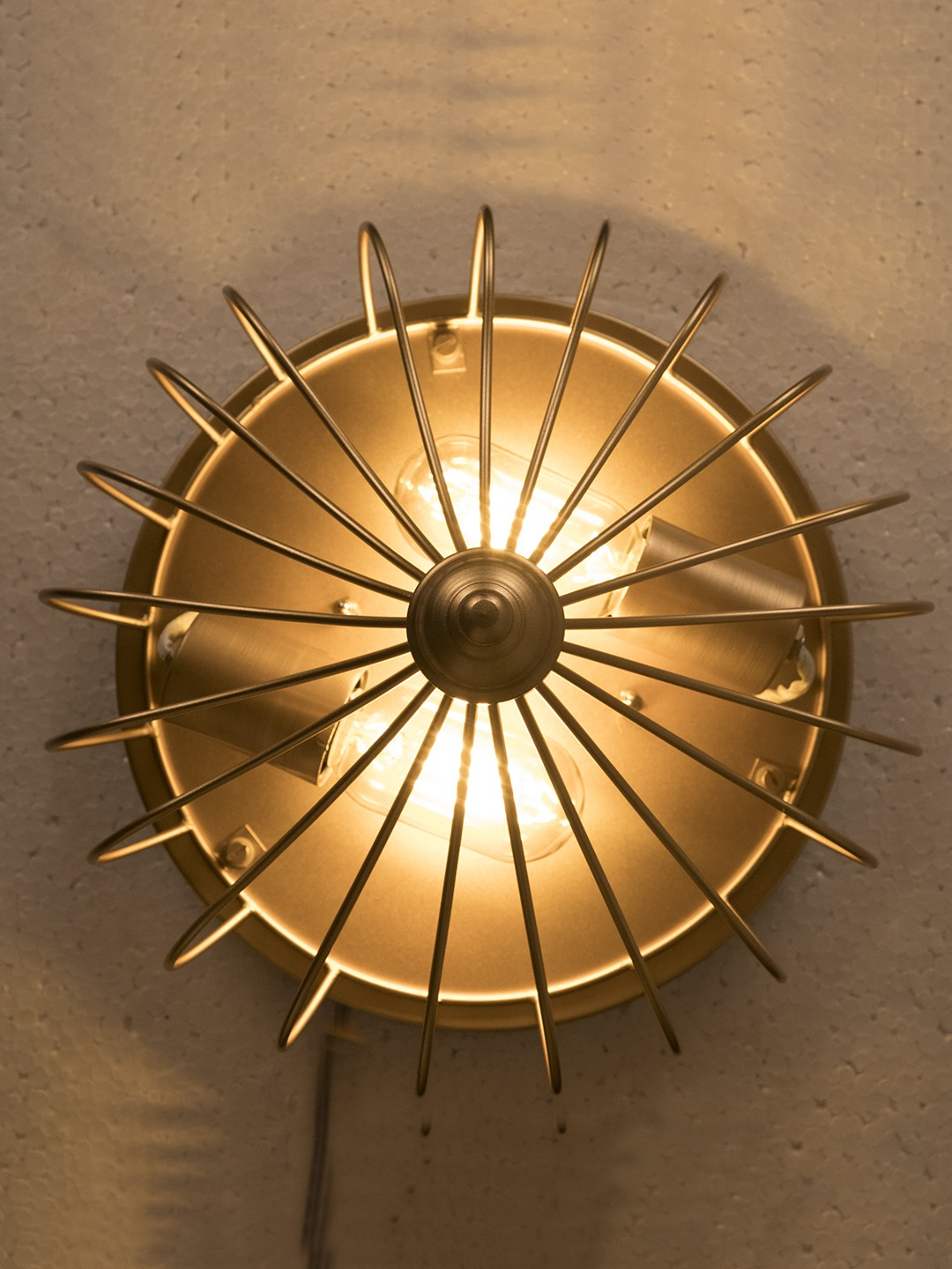 Golden Flushed Industrial Cage Ceiling Light