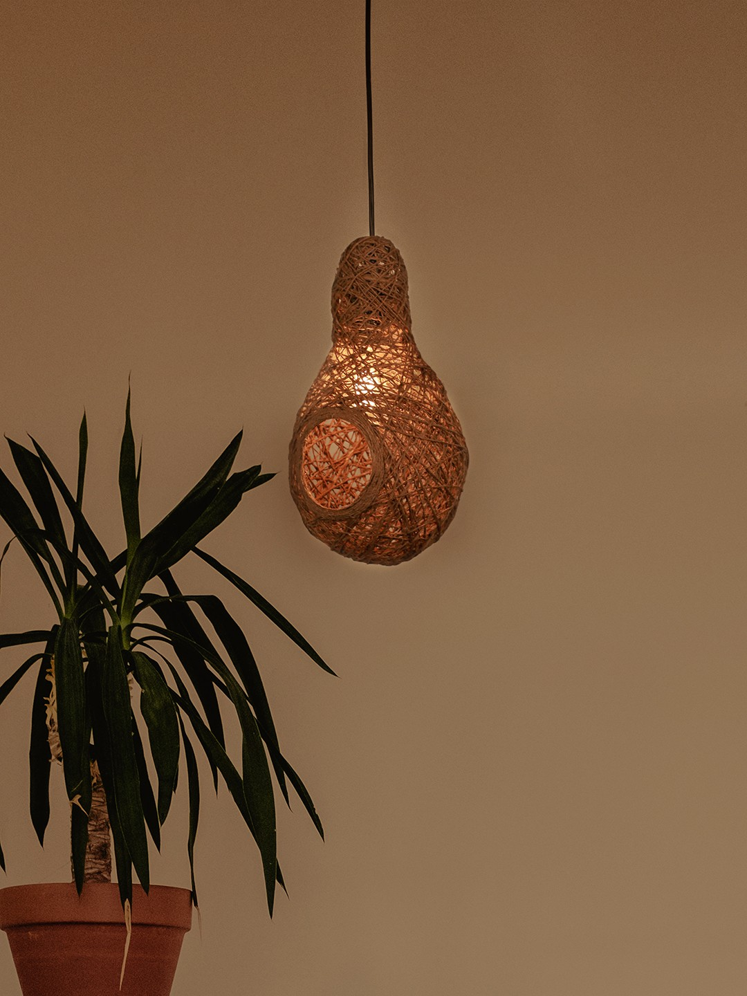 Weaver's Nest Brown String Pendant Light