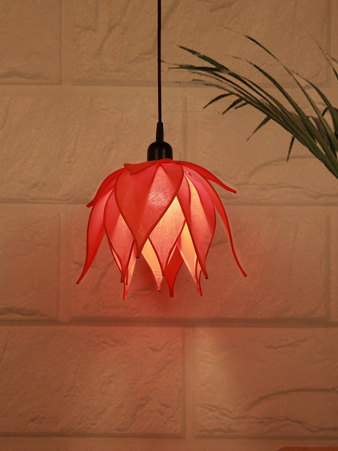 Auspicious Orange Lotus Pendant Light