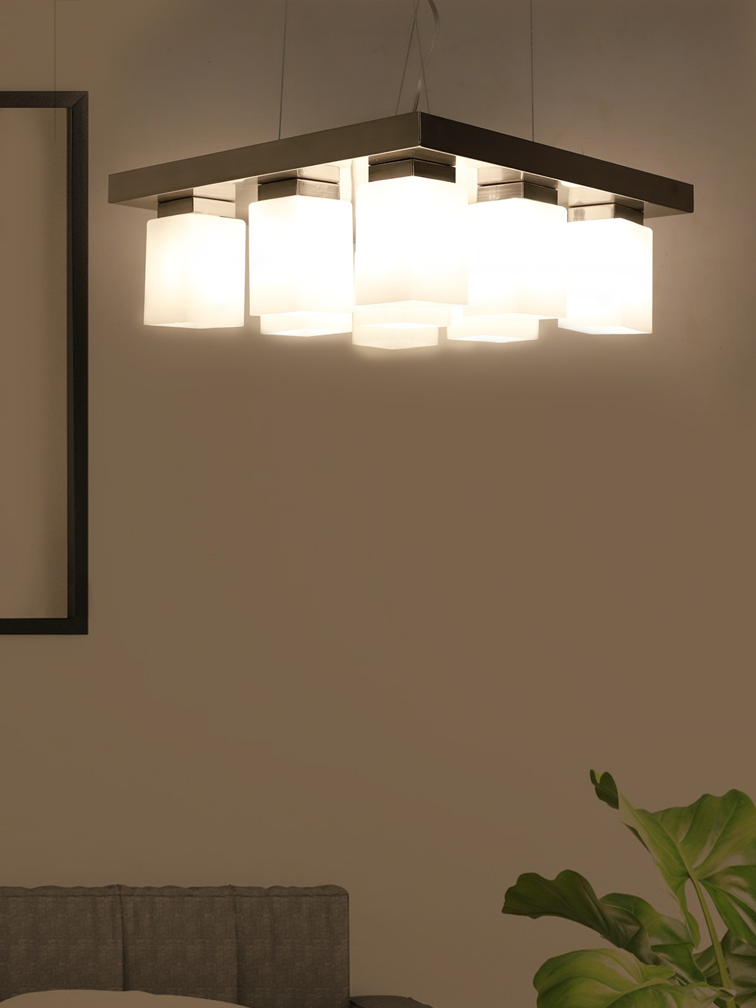 Modern Satin Finished Square 9 Light Chandelier with Opal Shades Product