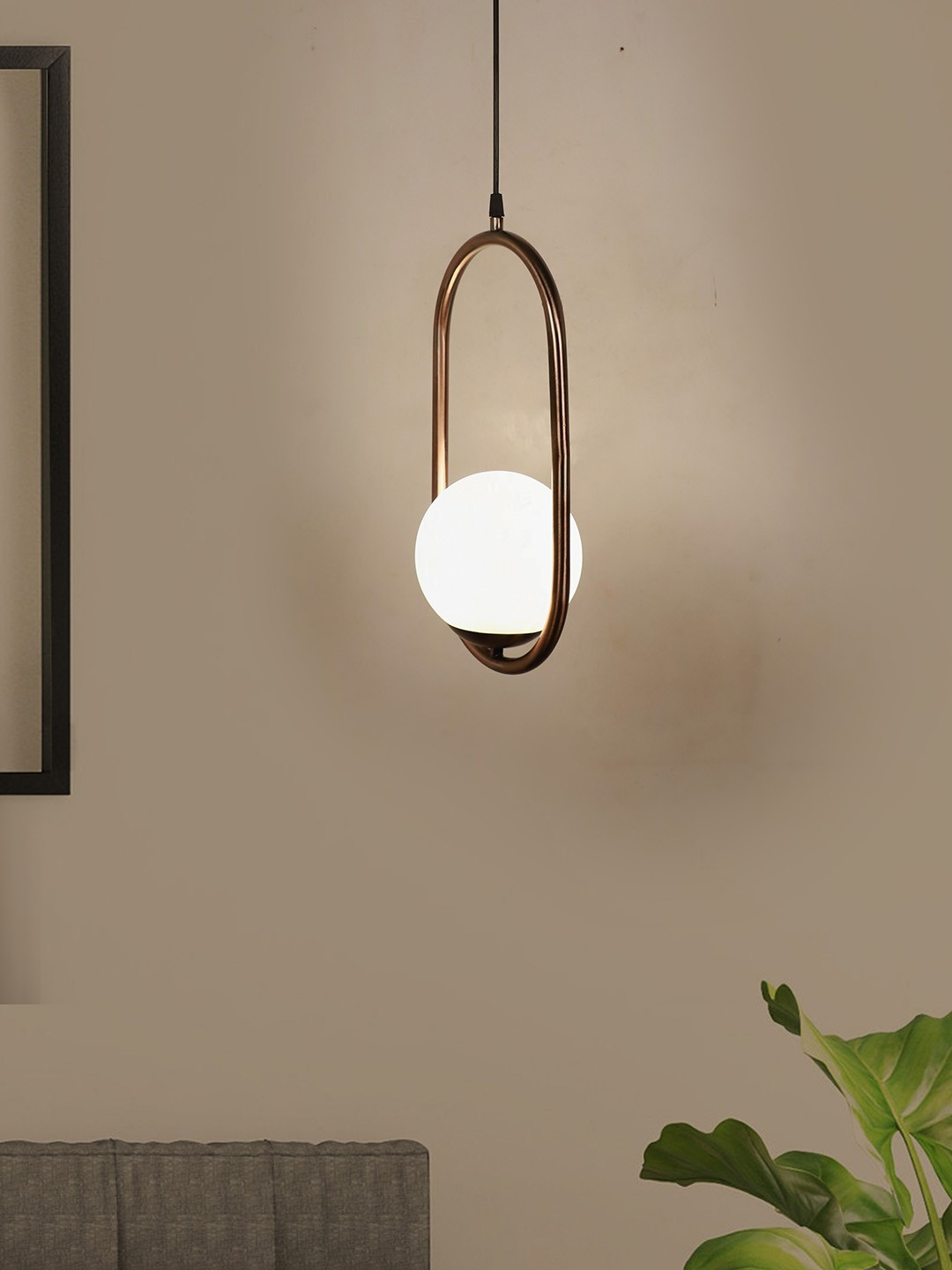 Modern Matt Copper Rose Finished Capsule Ring White Globe Pendant Lamp