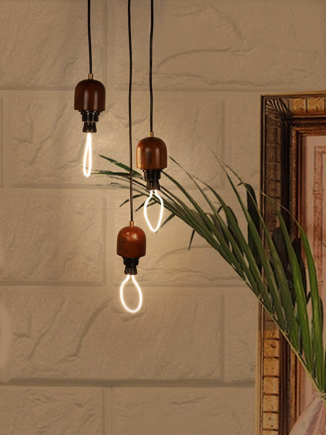 Modern Wooden 3 Light Cluster Hanging Pendant Lamp