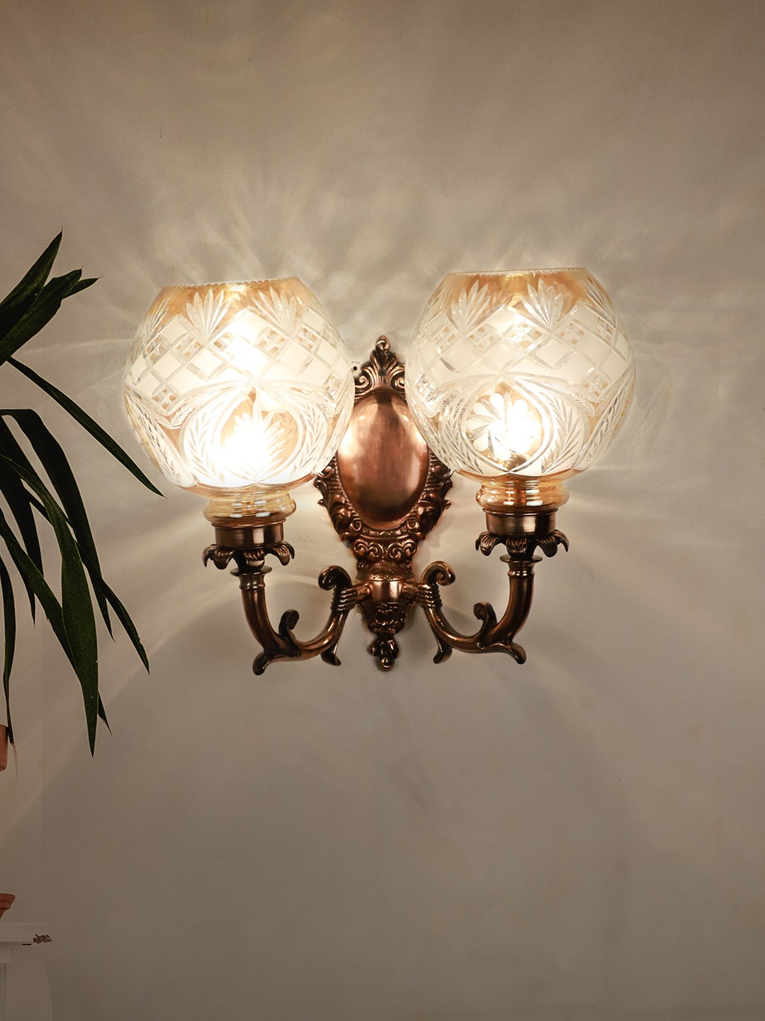 Antique Copper Finished Traditional 2 Light Wall Sconce with Golden Hand Cut Glass Shades