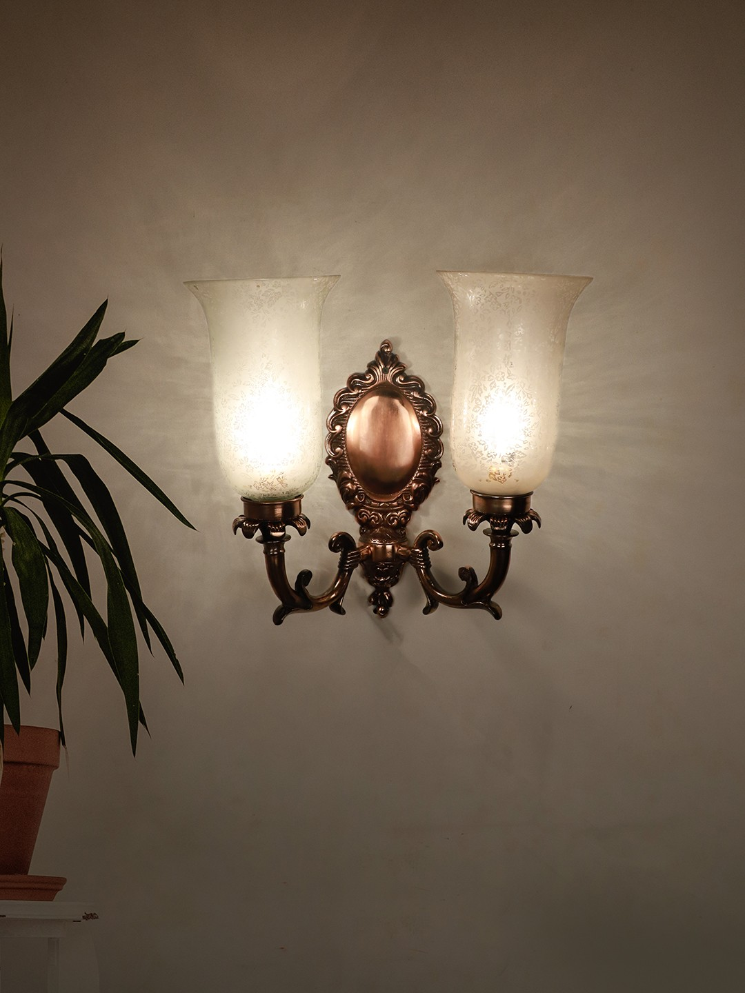 Antique Copper Finished Traditional 2 Light Wall Sconce with Etched Glass Shades