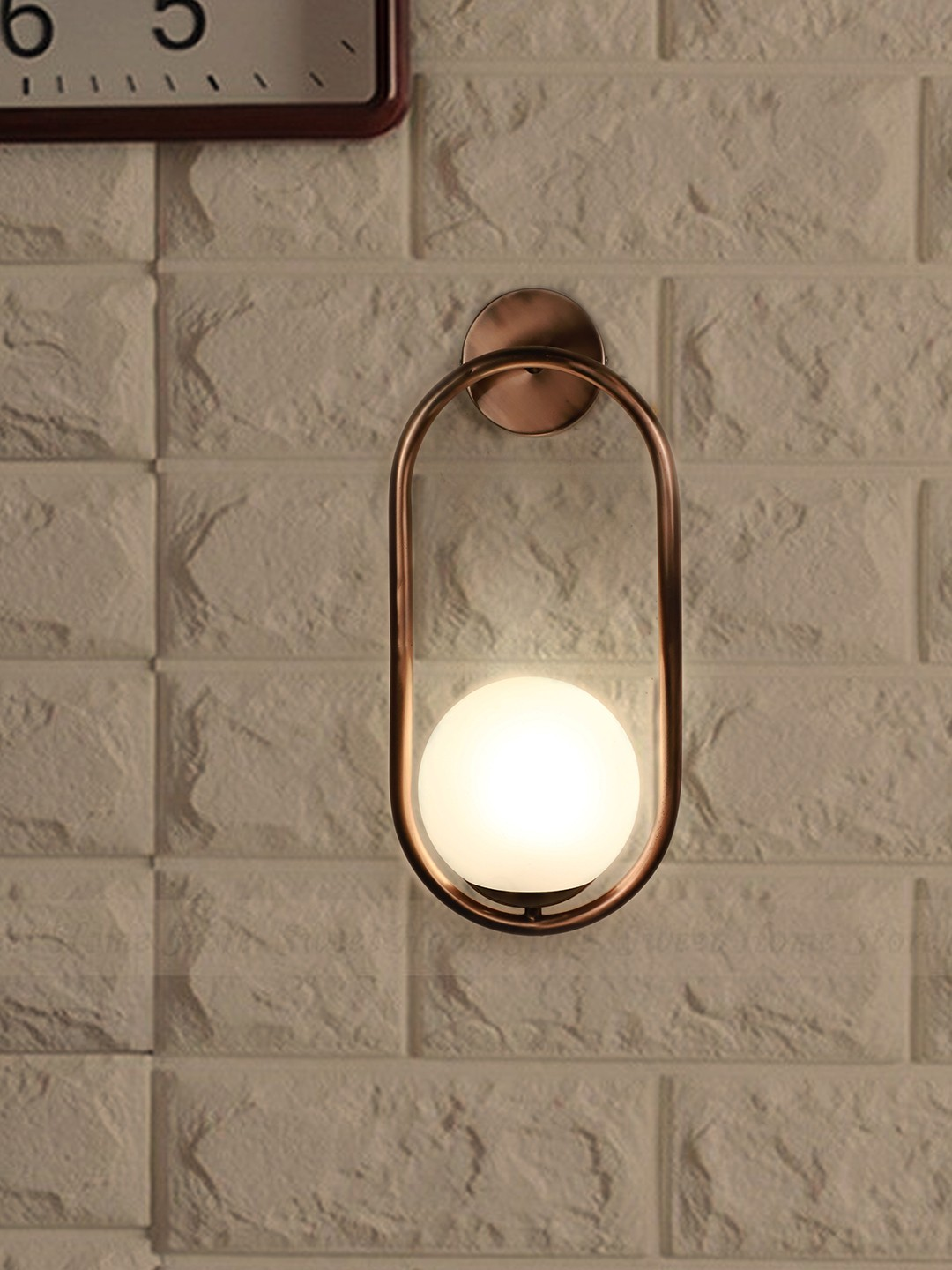 Modern Matt Copper Rose Finished Capsule Ring White Globe Wall Sconce