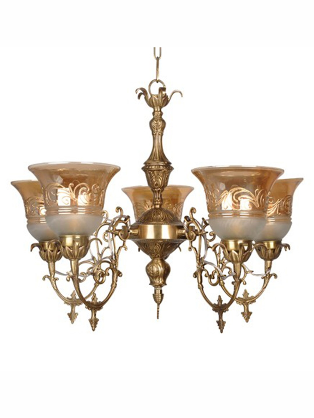 Ornate Cast Brass 5 Light Lustrous Chandelier