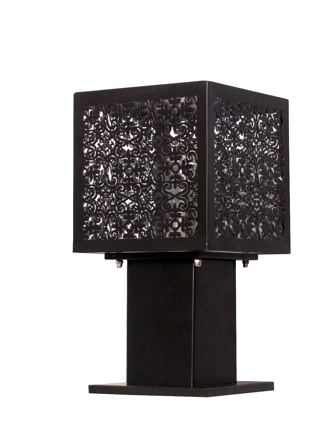 Lattice Cube Black Gate Post Light