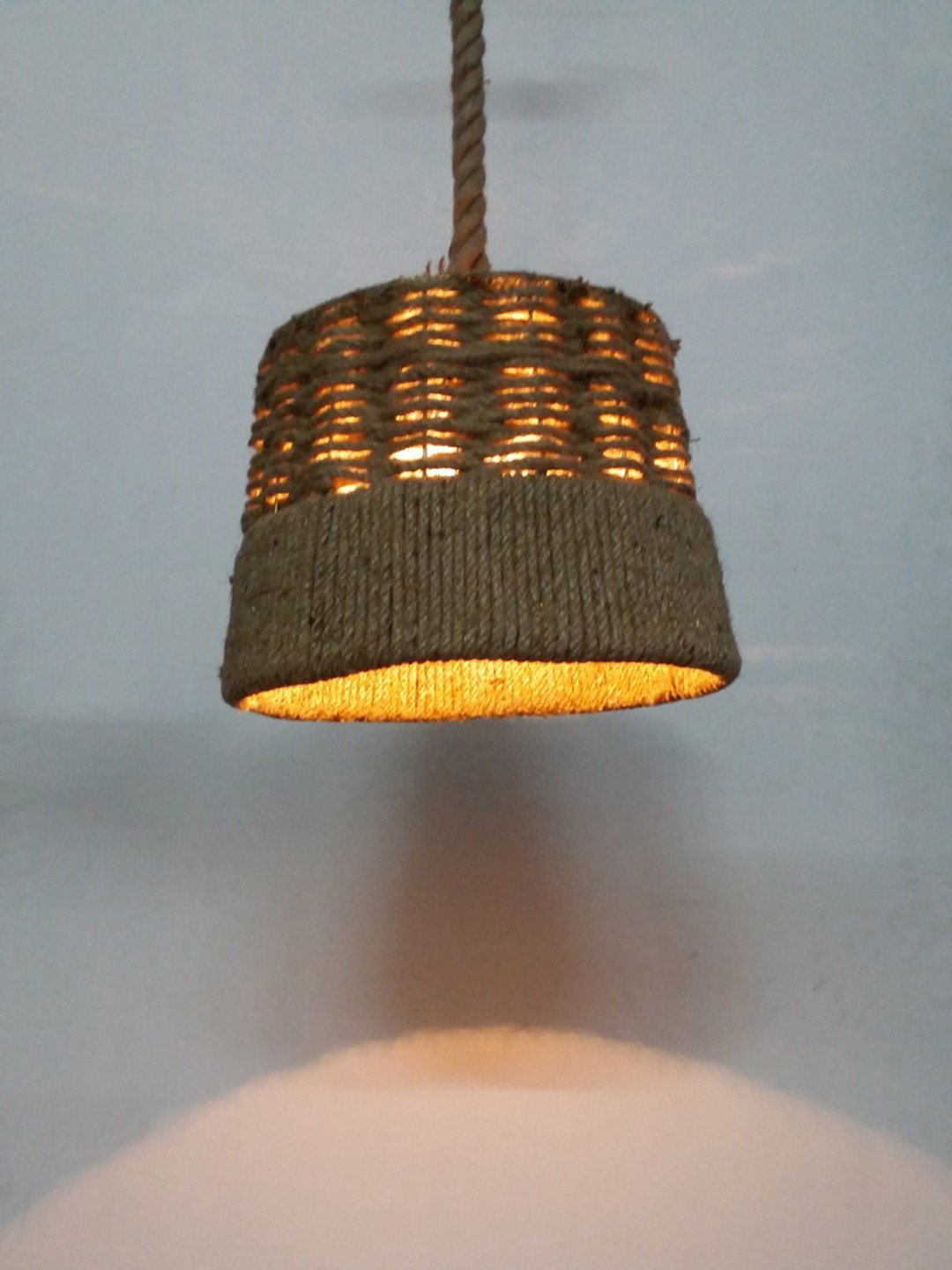 Rustic Jute Rope Basket Hanging Pendant Light