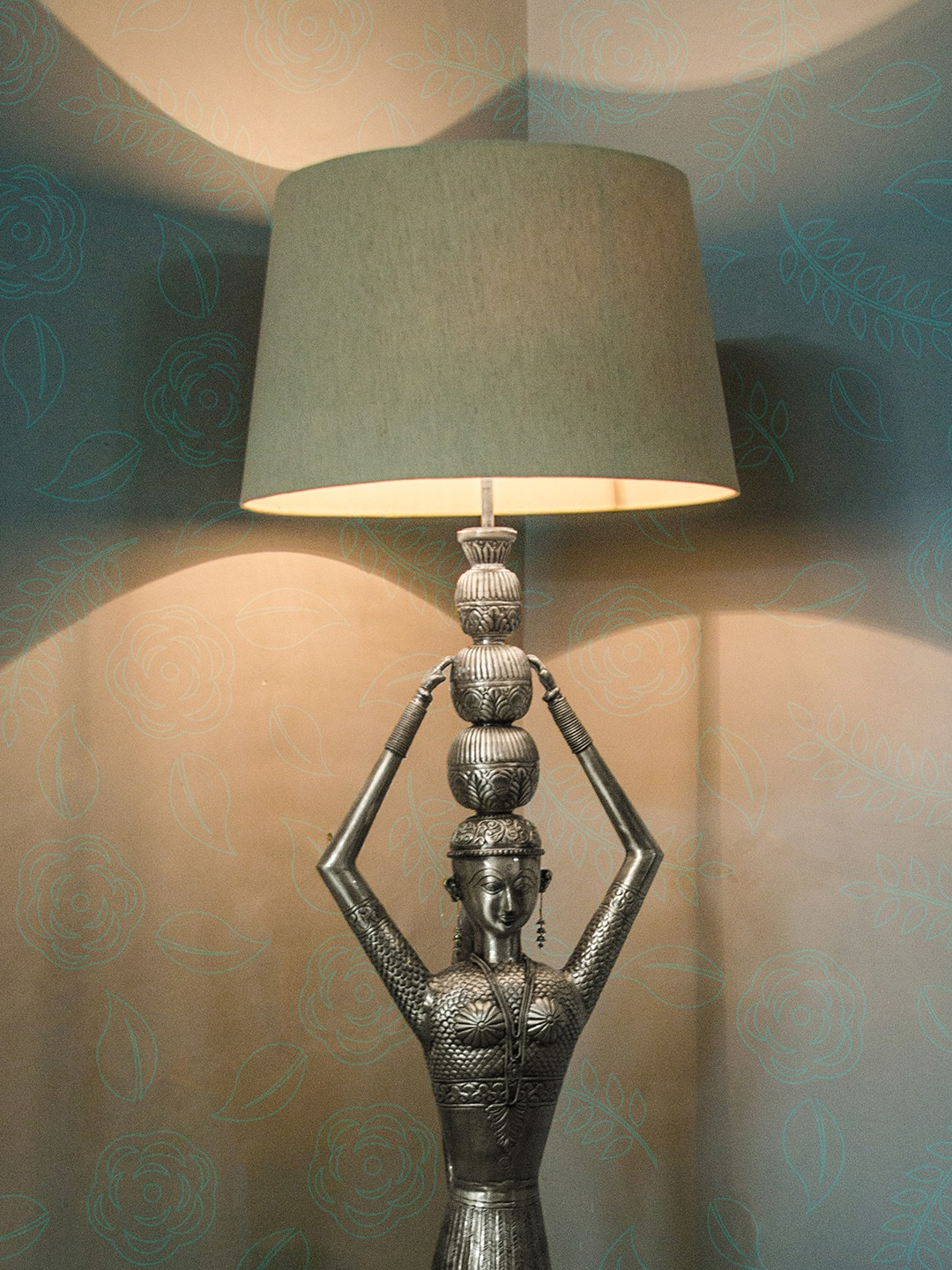 Kalash Figurine Silver Floor Lamp