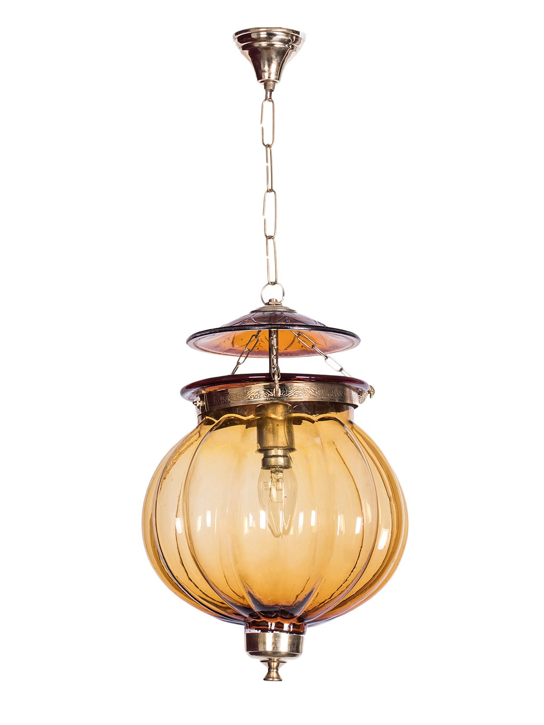 Goan Melon Handi Lantern Hanging Light - Amber
