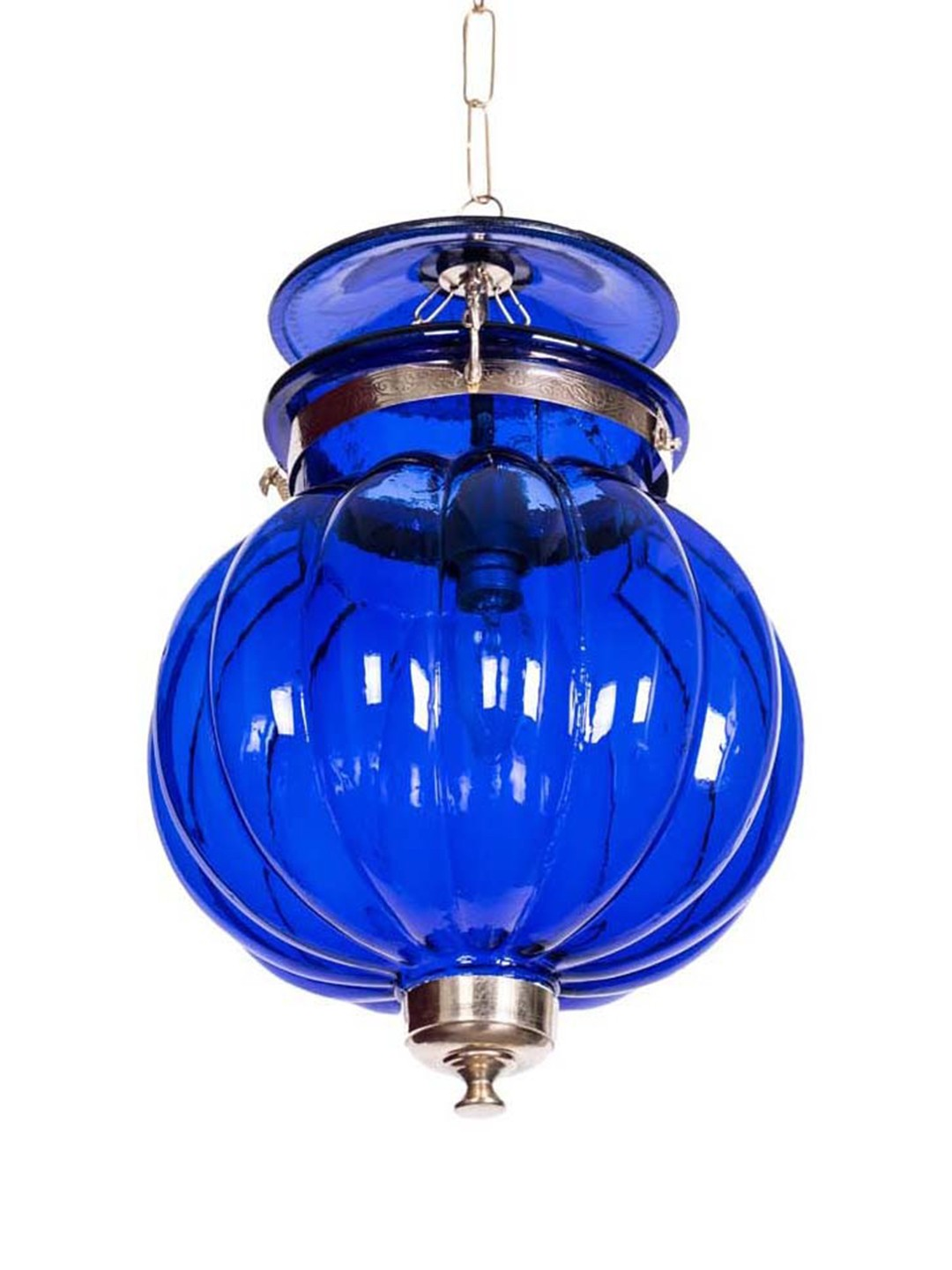 Goan Melon Handi Lantern Hanging Light - Indigo