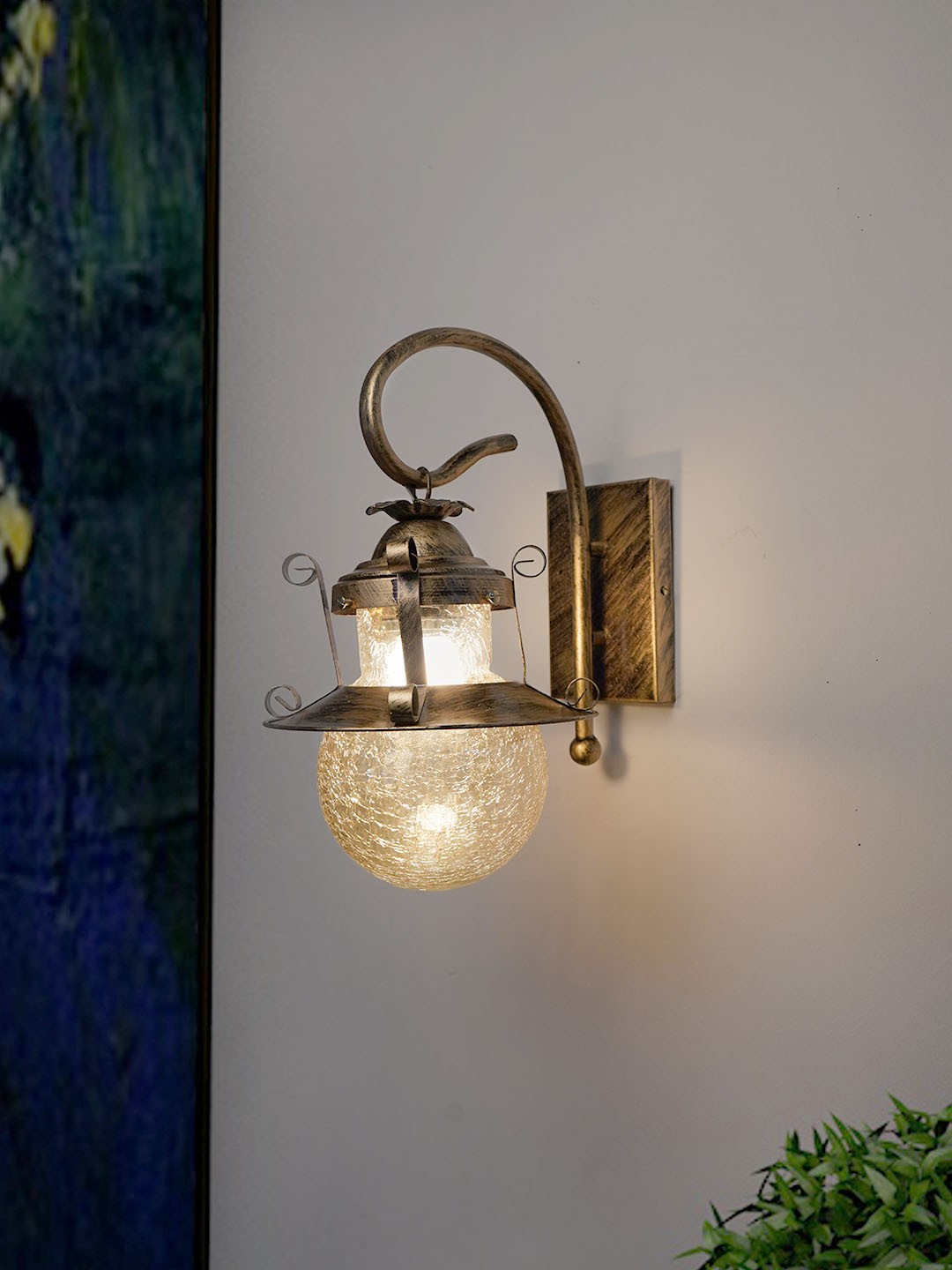 Globe Shape Wooden Base Wall Light, Wall Lamp with E27 Holder (Stainless Steel and Glass)