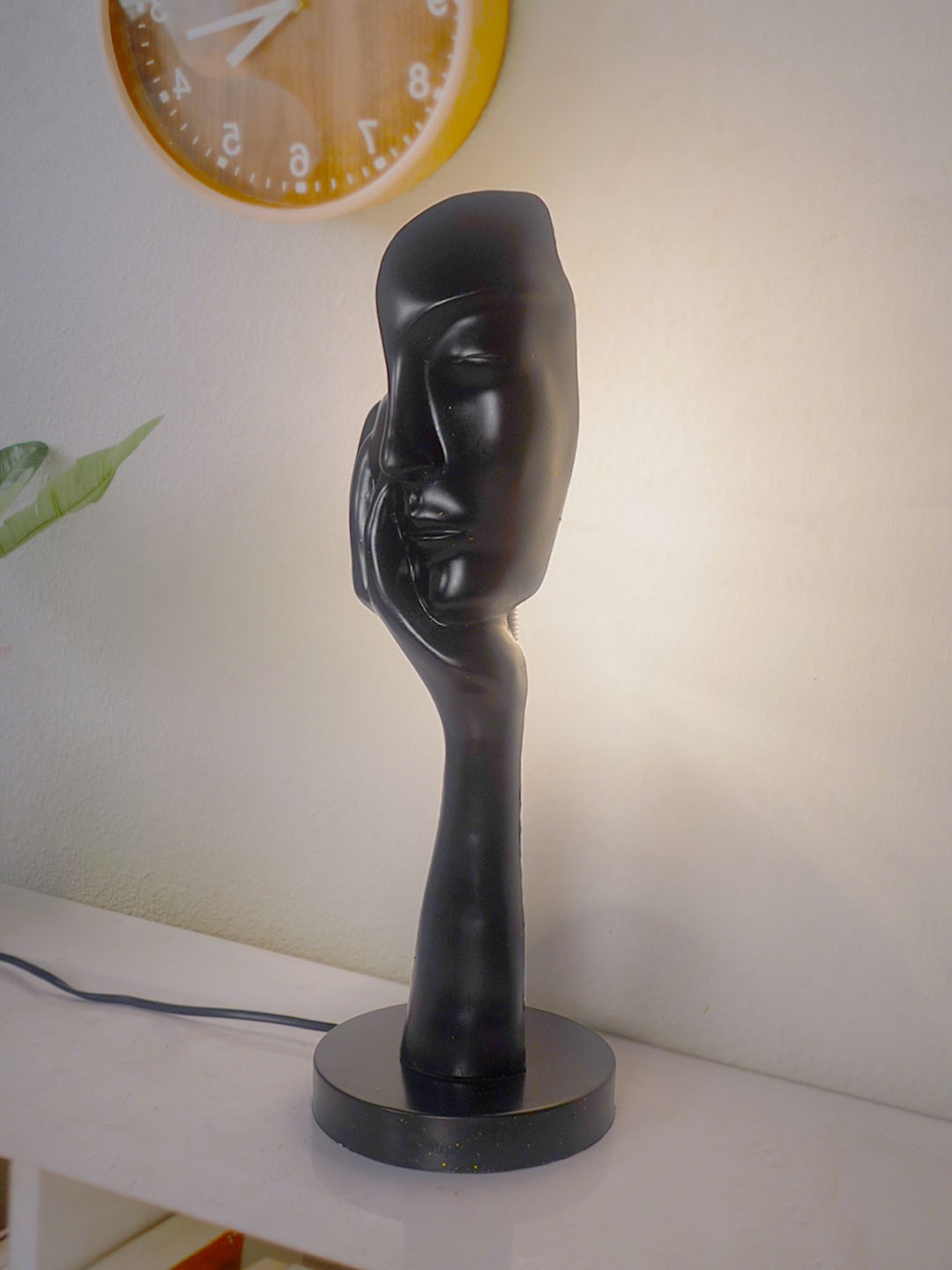 Black Sculpted Face Table Installation Resin Table Lamp