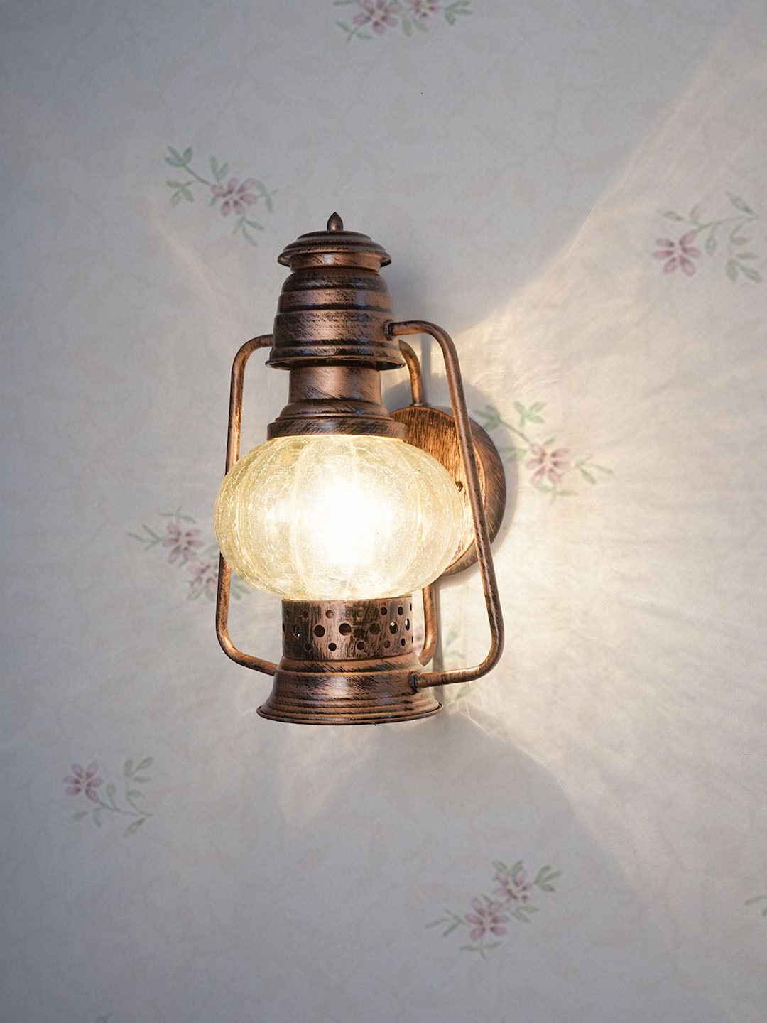 Wall Mounted Steel and Glass Lantern   Homedecor   Antique Copper Colour   Attractive Wall Light
