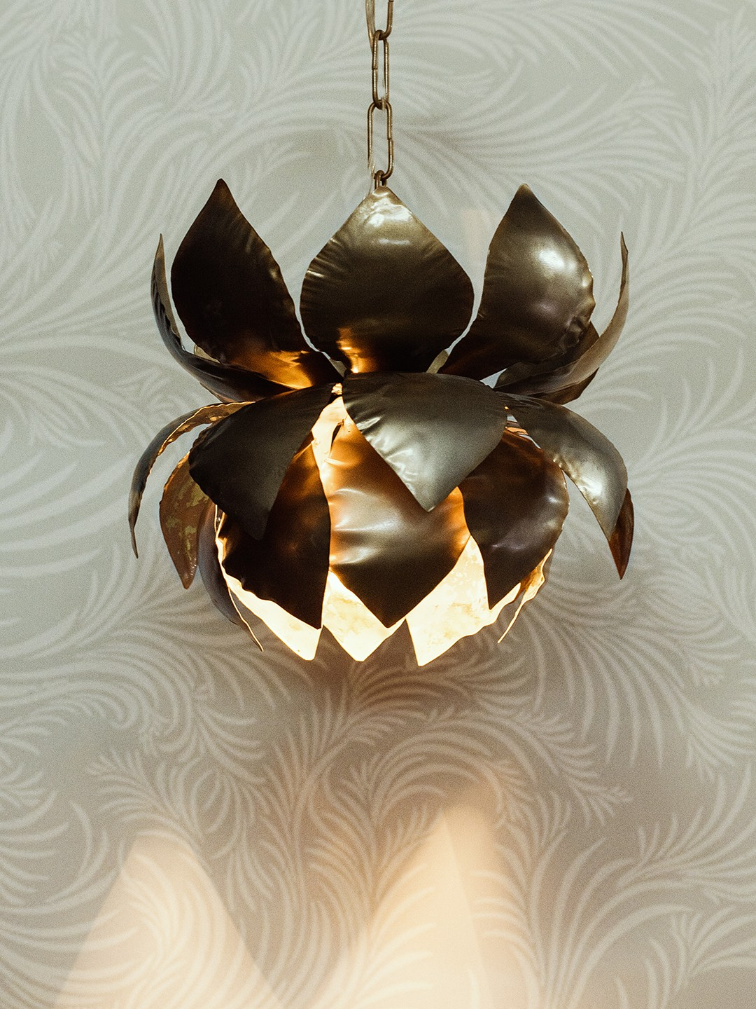 Gold Flakes Lotus Hanging Pendant Light