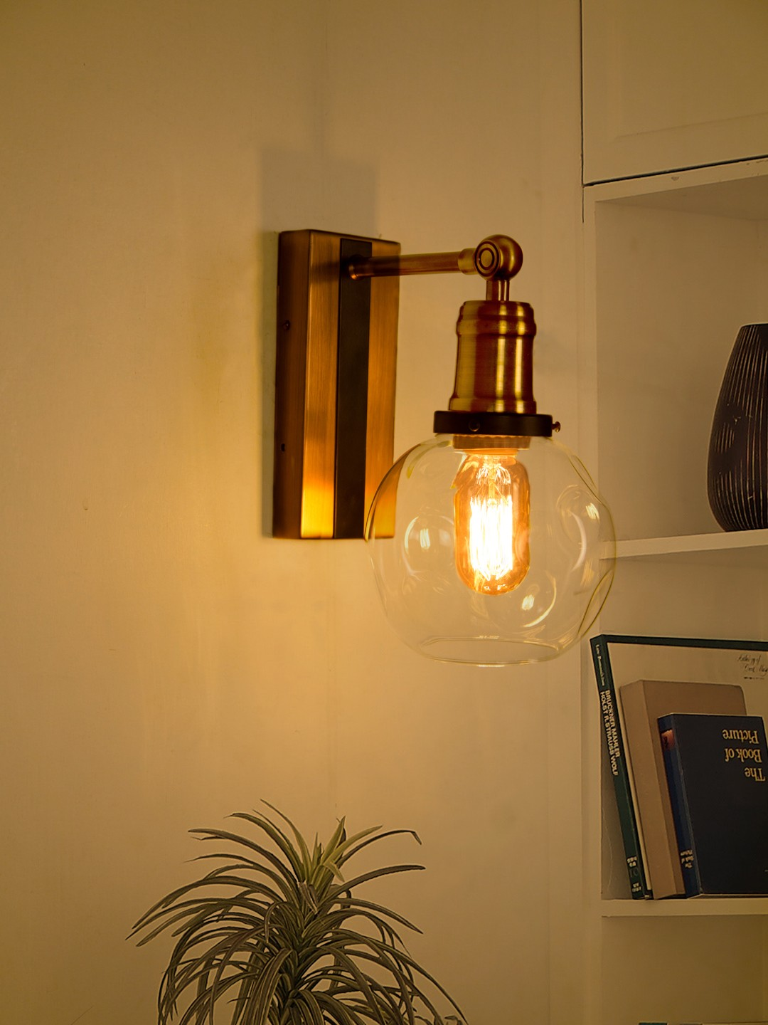Modern Industrial Chic Antique Brass & Glass Globe Wall Sconce