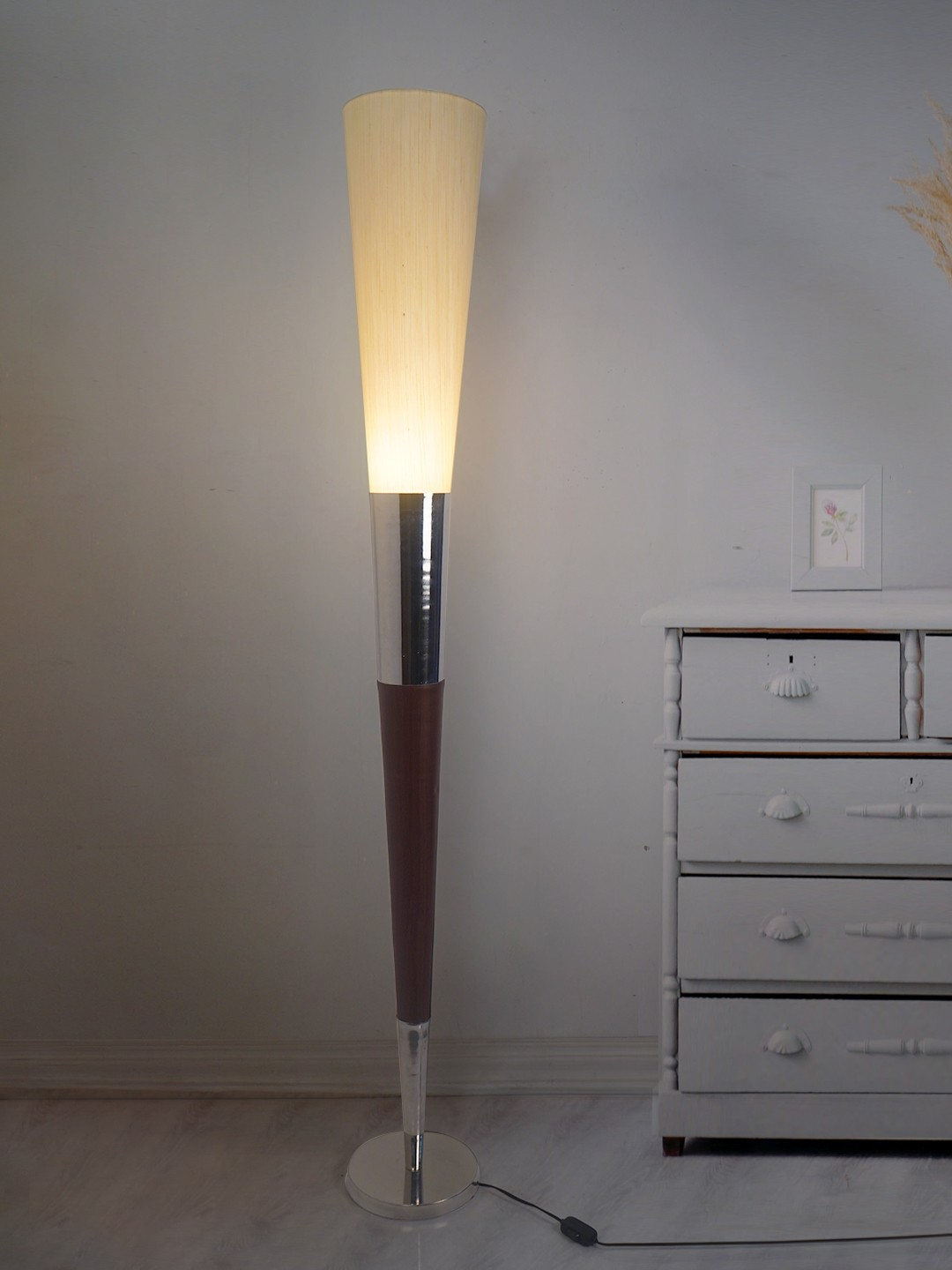 Modern Cone Wood, Chrome and Linen Torchiere Floor Lamp