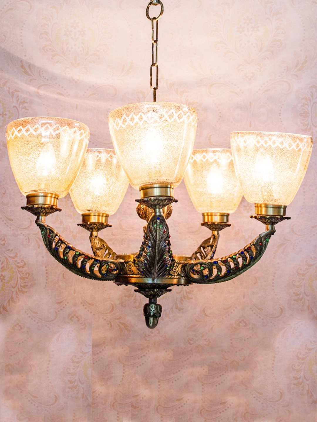 Meena Cast Brass 5 Light Chandelier