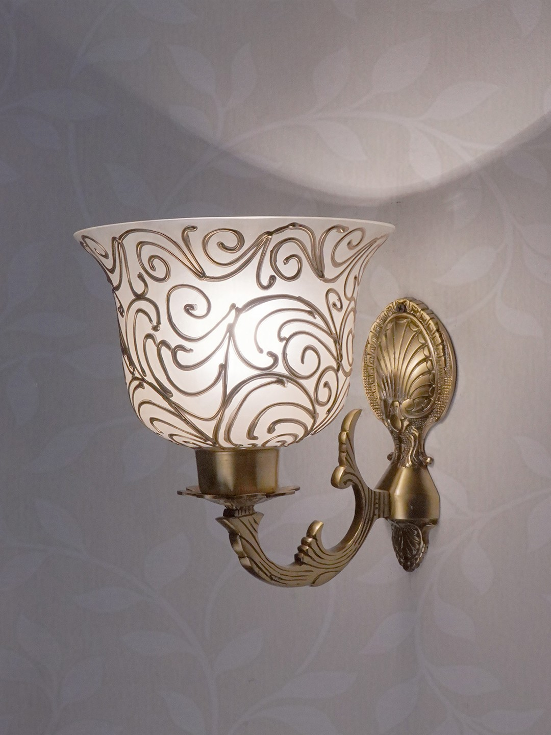 Traditional Antique Brass Wall Light with Frosted Glass Shades with Jaipuri designing on glass