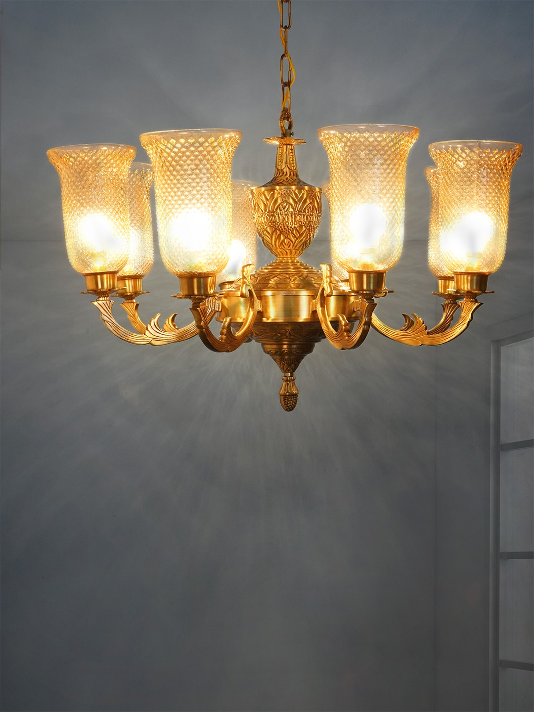 Jaisalmer 8 Lights Brass Chandelier with Golden Lustrous Textured Glasses