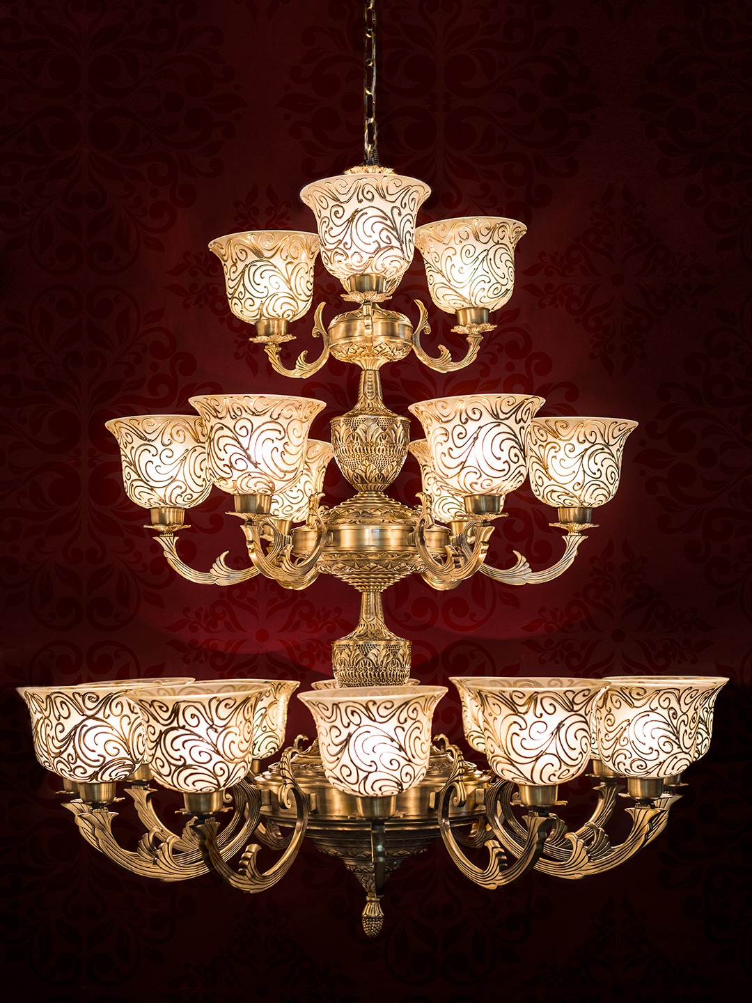 Jaisalmer 3 Tier 21 Lights Brass Chandelier