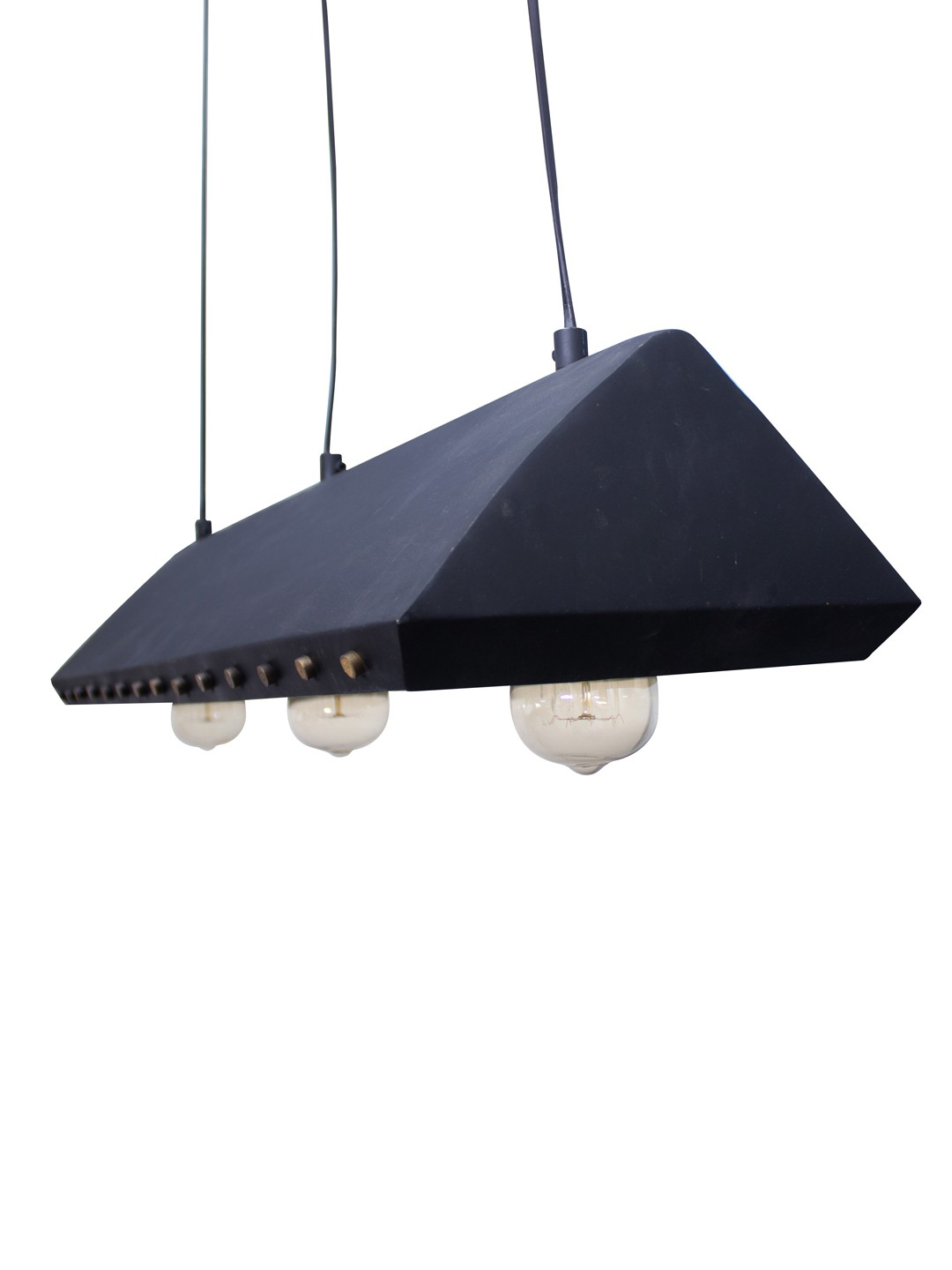 Industrial Black Trapezoid Pendant with Brass Rivets