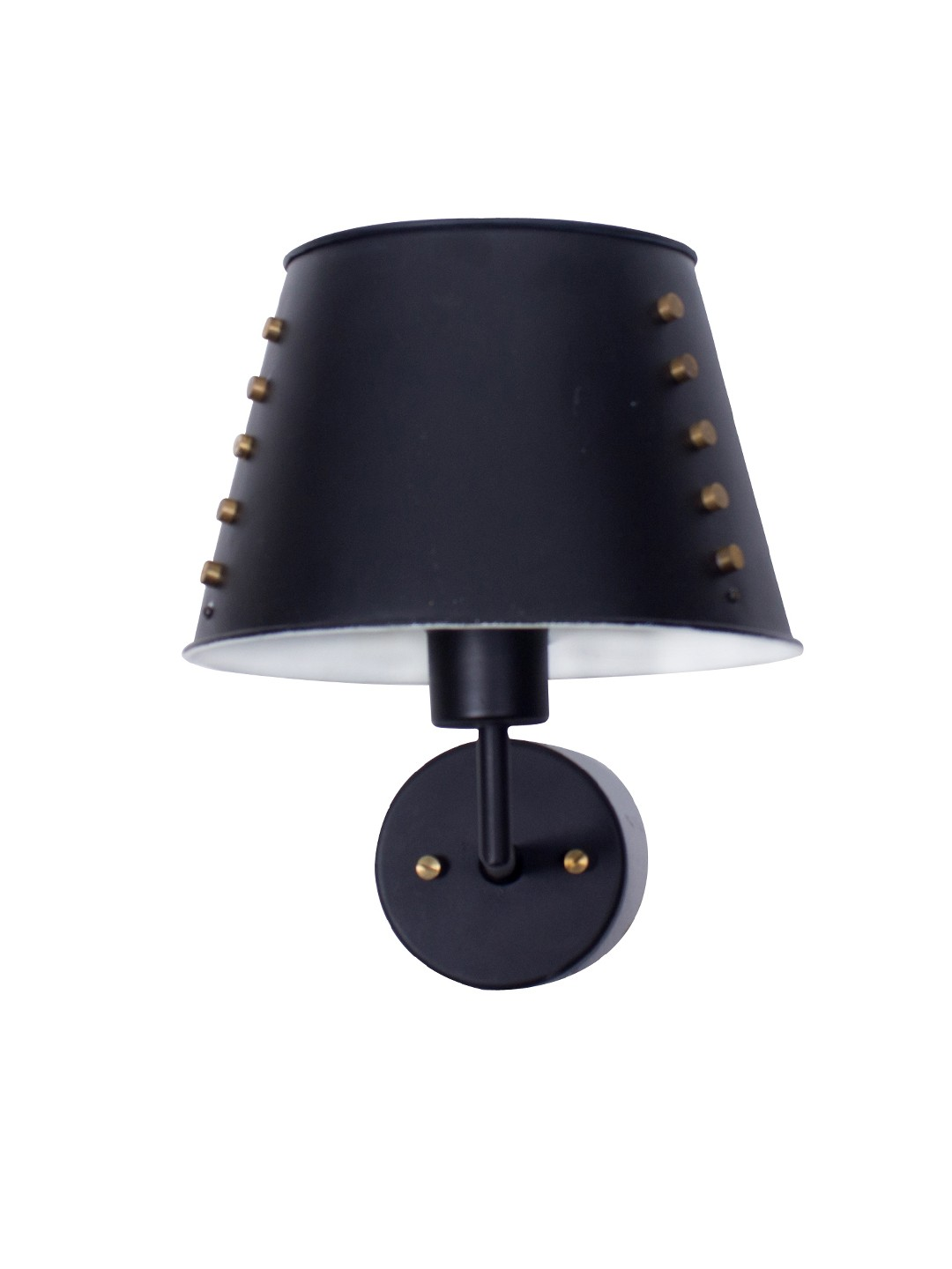 Industrial Black Tapered Shade Wall Lamp with Brass Rivets