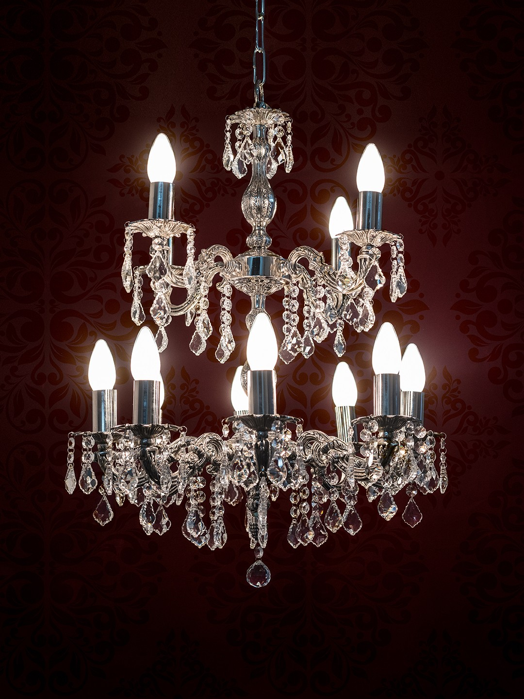 Dainty English Silver Antique Crystal 2 Tier 12 Light Chandelier